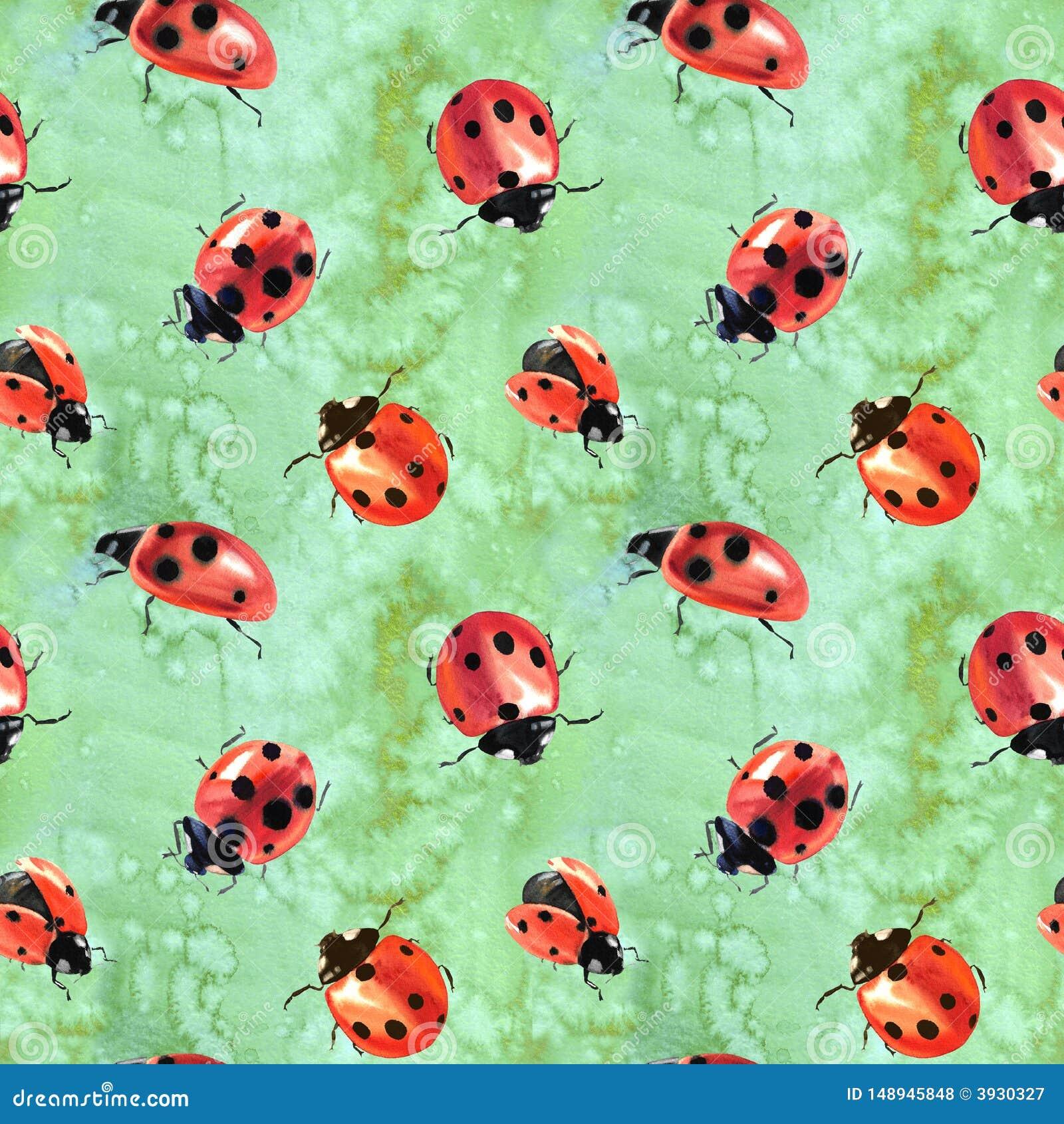 Акварель покрасила ladybugs