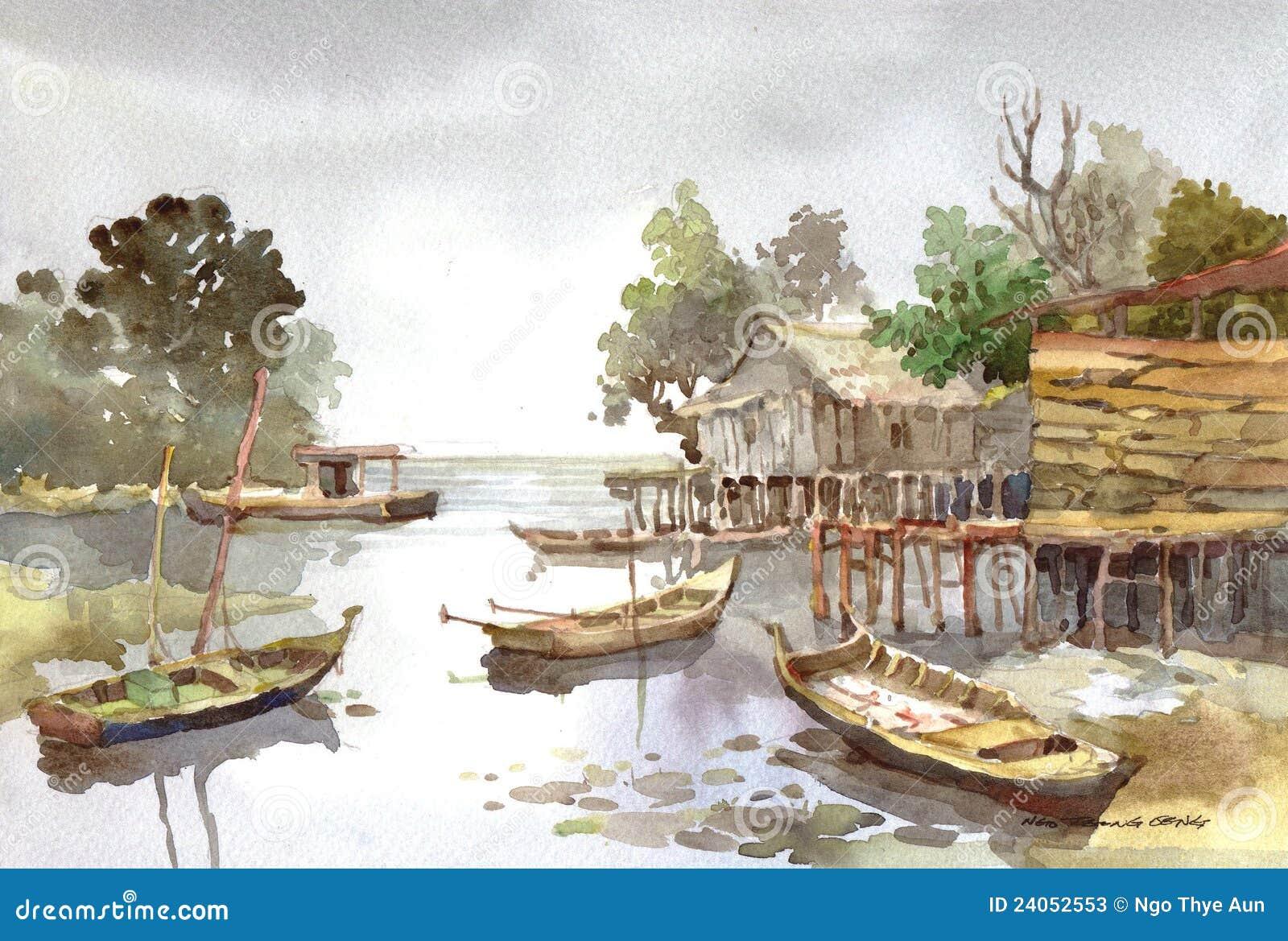 акварель села картины