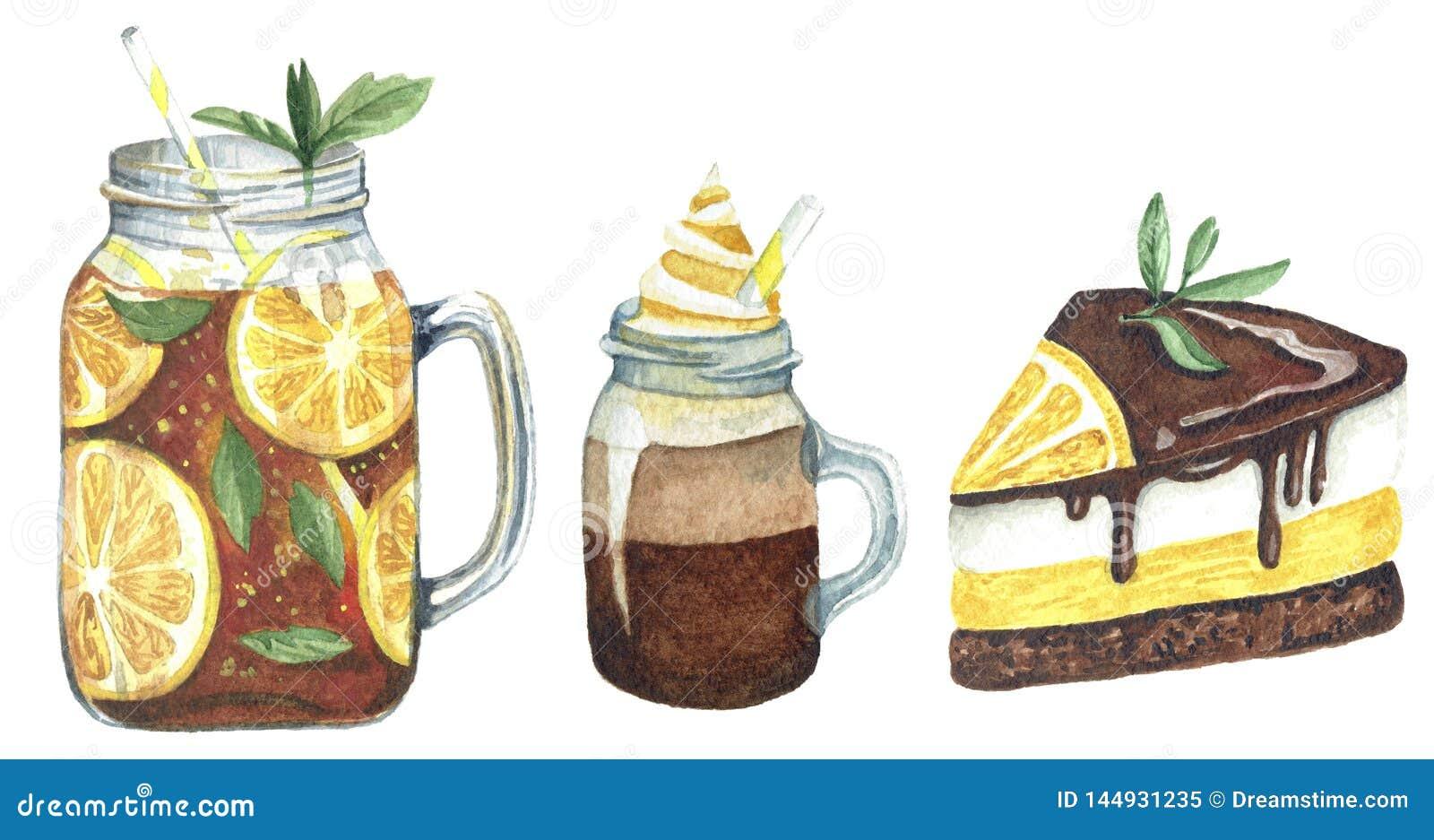 Акварель установила с напитком и помадками