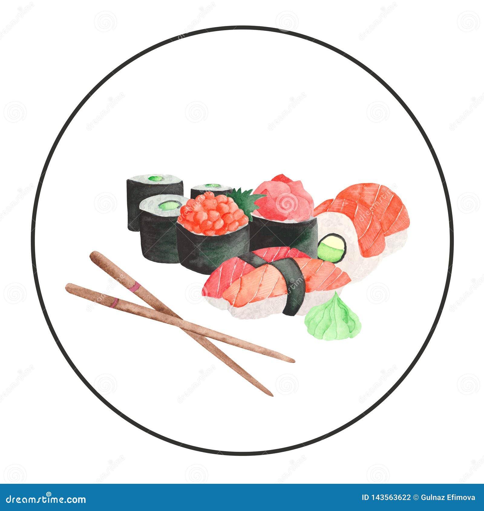 Акварель установила с рамкой суш японской кухни