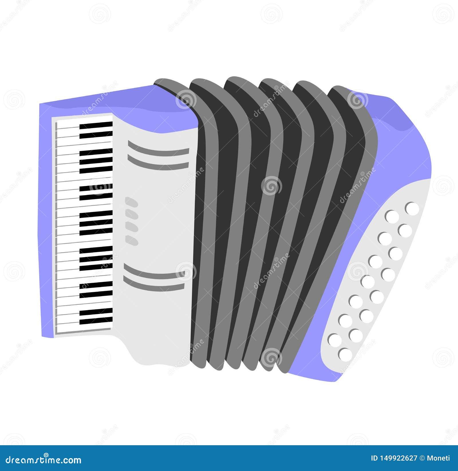 Аккордеон, гармоника, диез еврейства Изолированный значок аккордеона плоский