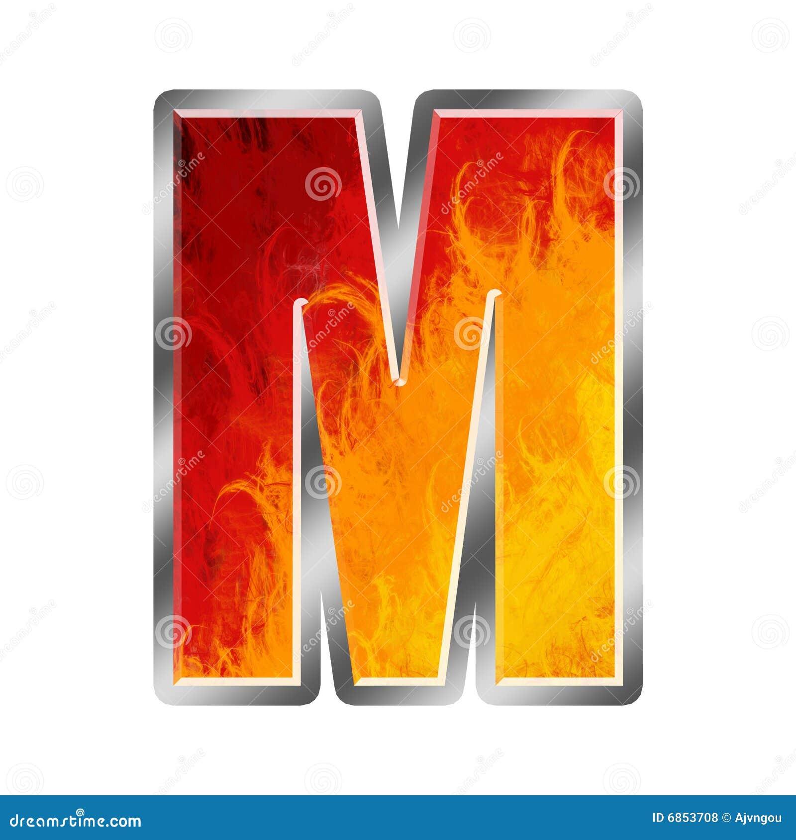 алфавит пылает письмо m
