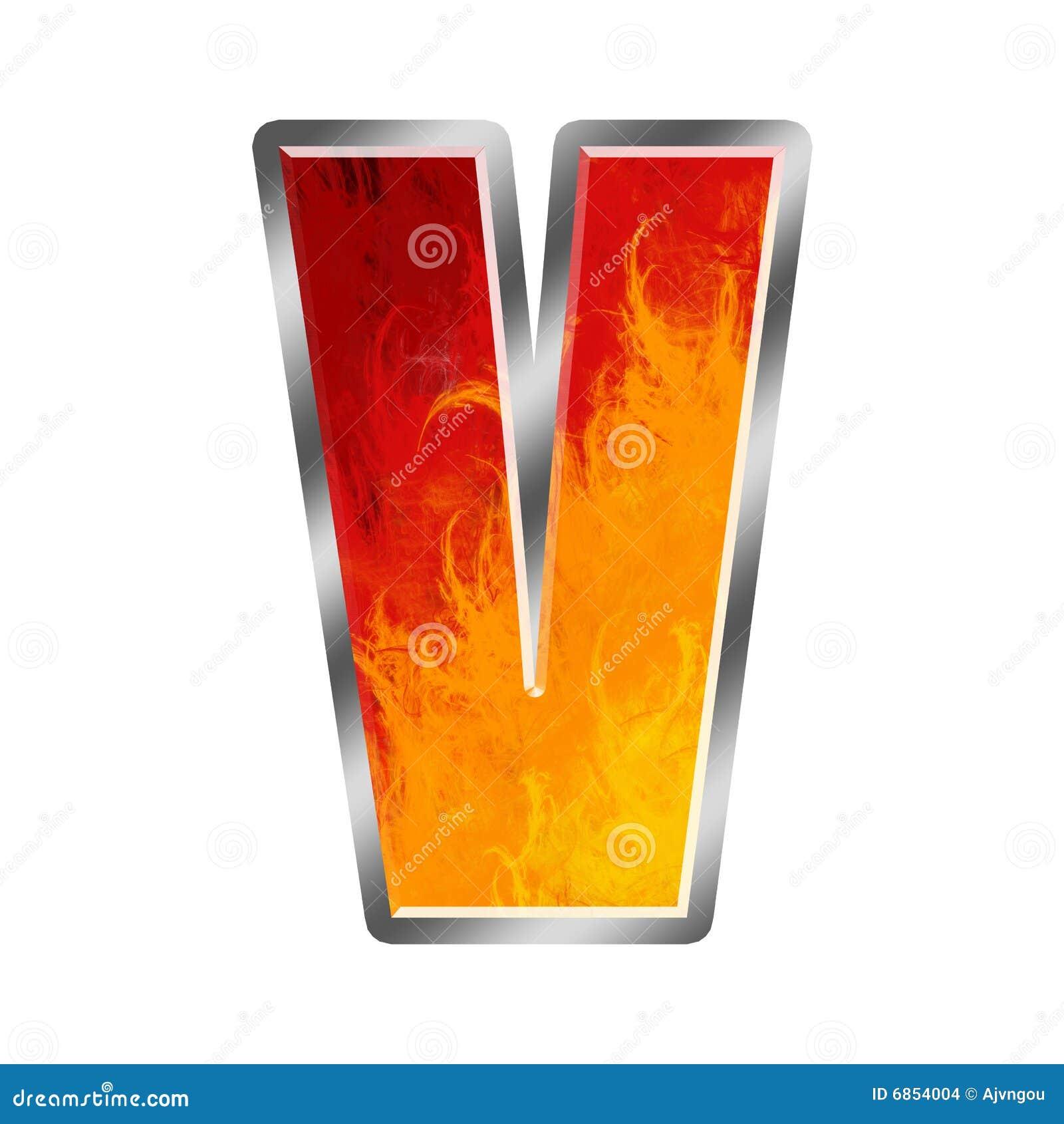 алфавит пылает письмо v