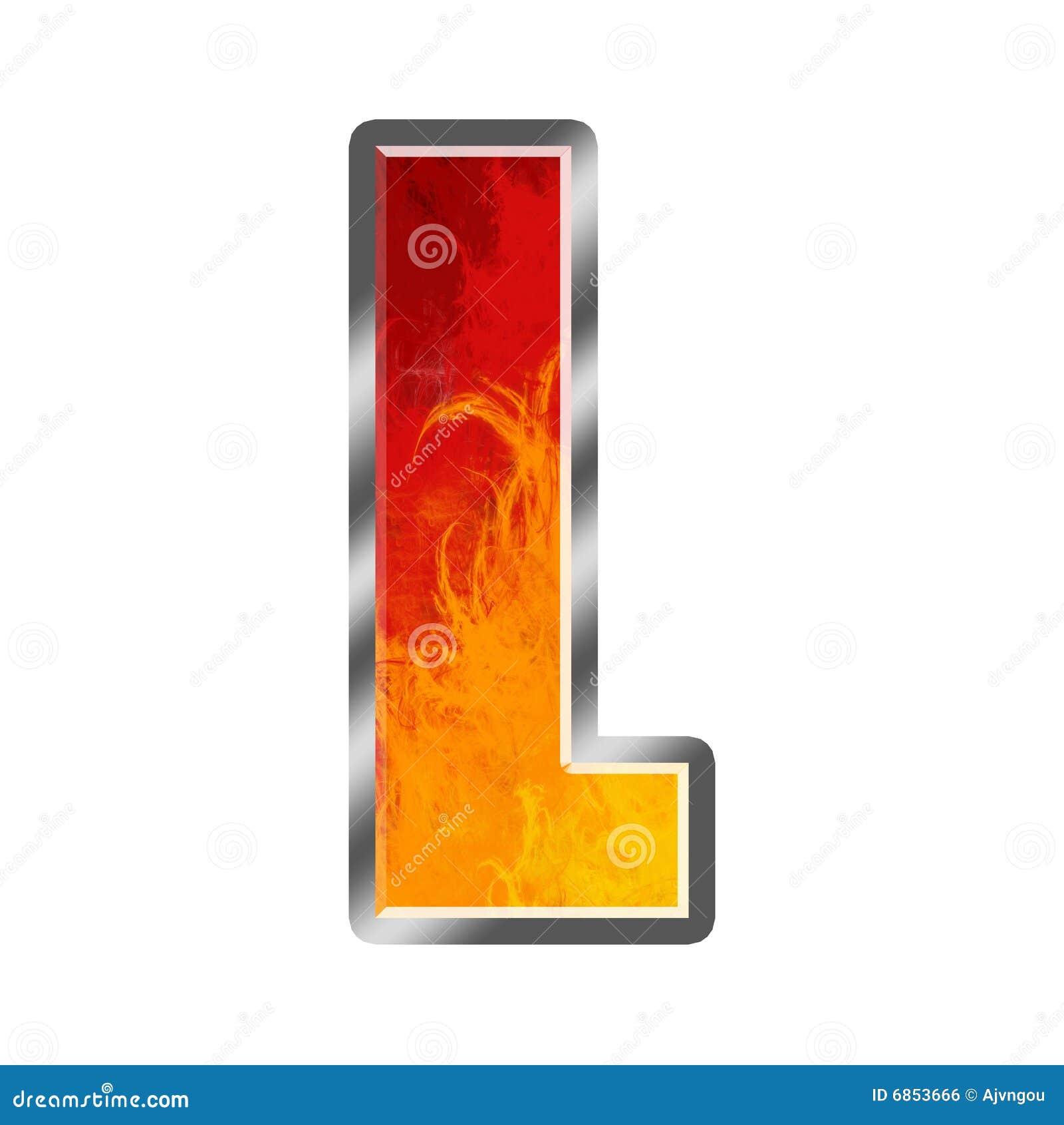 алфавит пылает l письмо