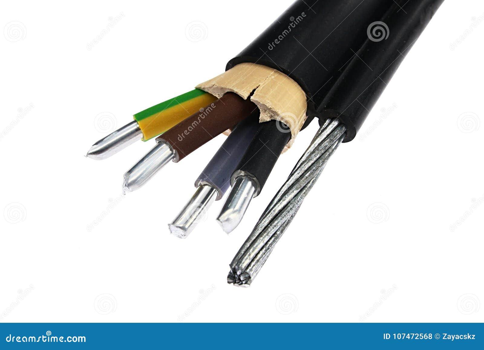 Алюминиевая сборка кабеля электричества с стальной веревочкой на стороне как поддержка, предусматриванная в черной куртке PVC, вн