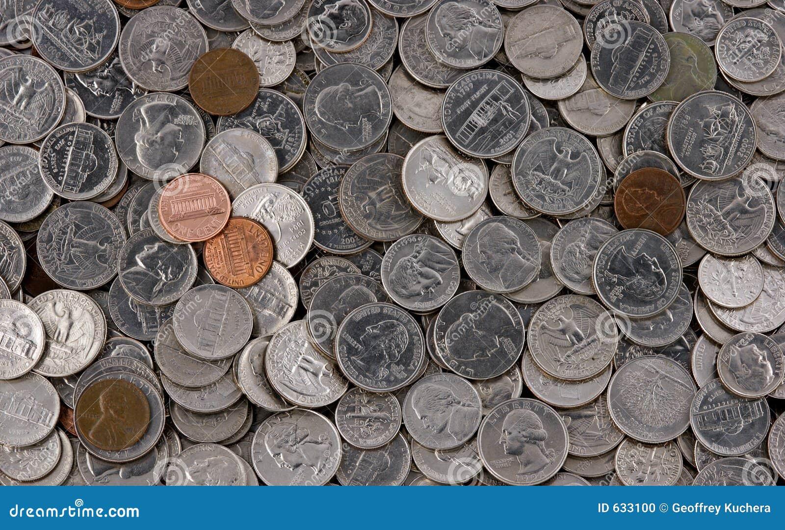 Download американская куча монеток стоковое фото. изображение насчитывающей изменение - 633100