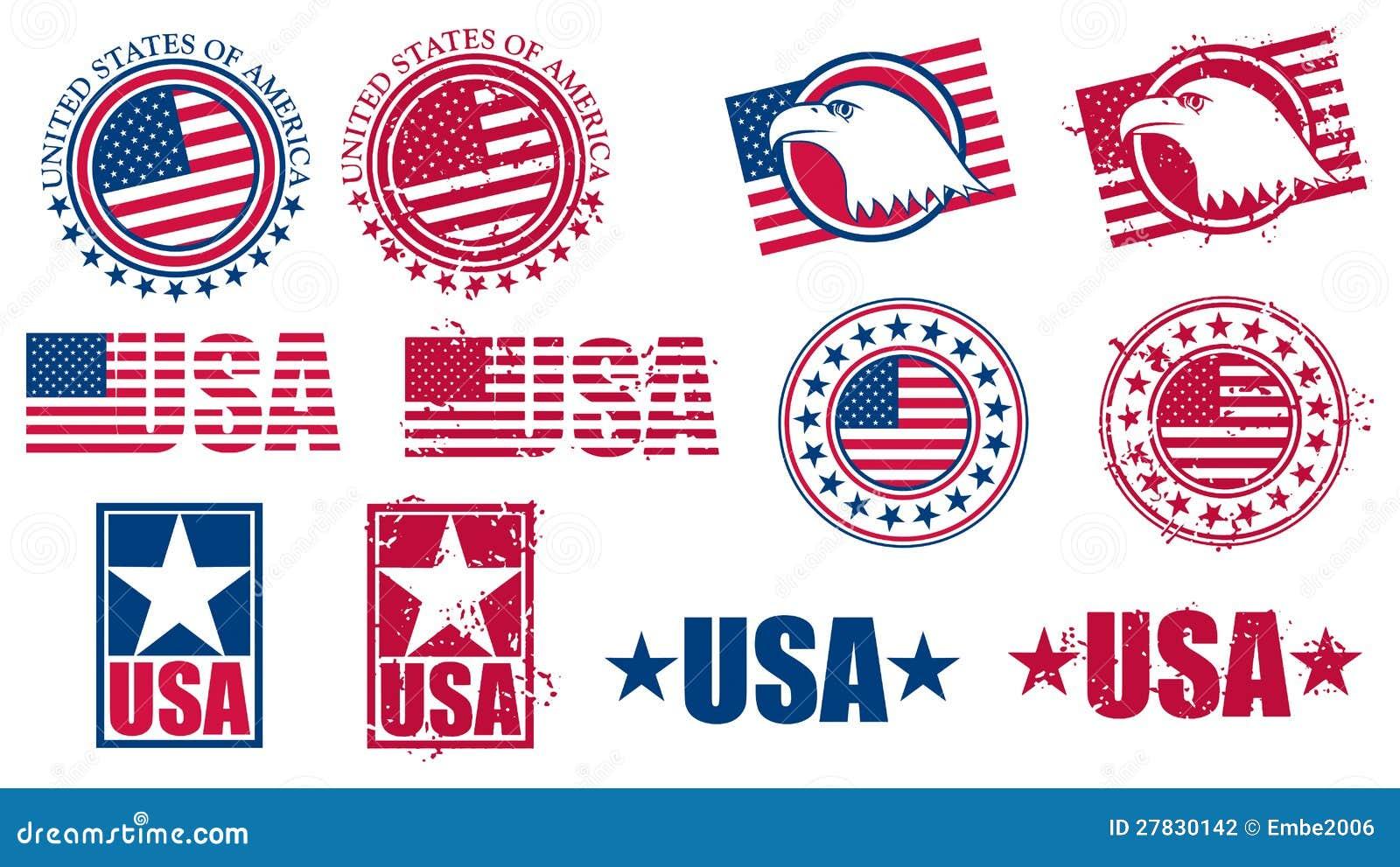 Американские штемпеля флага США
