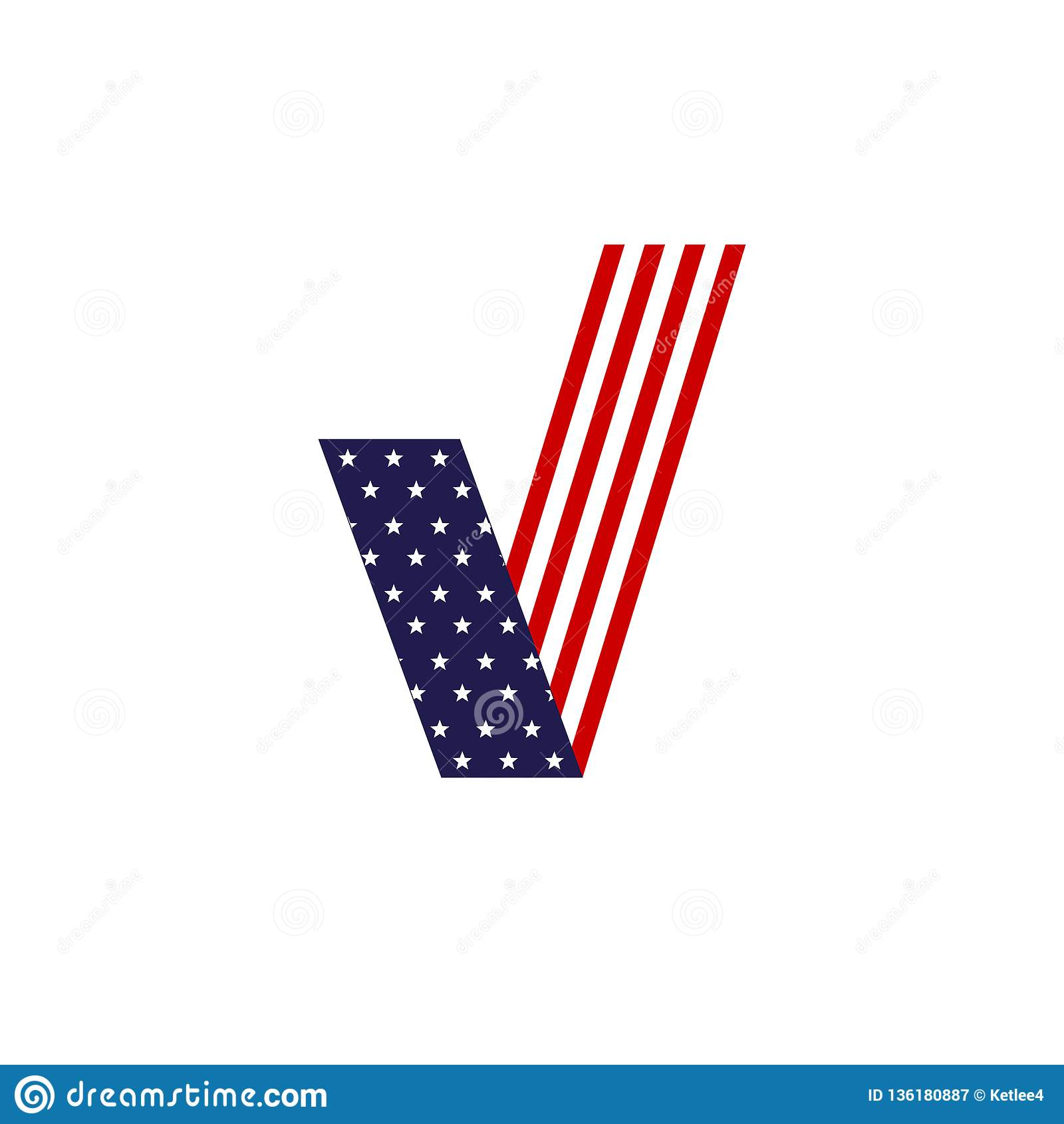 Американский флаг контрольной пометки для голосования патриотического символа избрания элемента дизайна Соединенных Штатов Америк