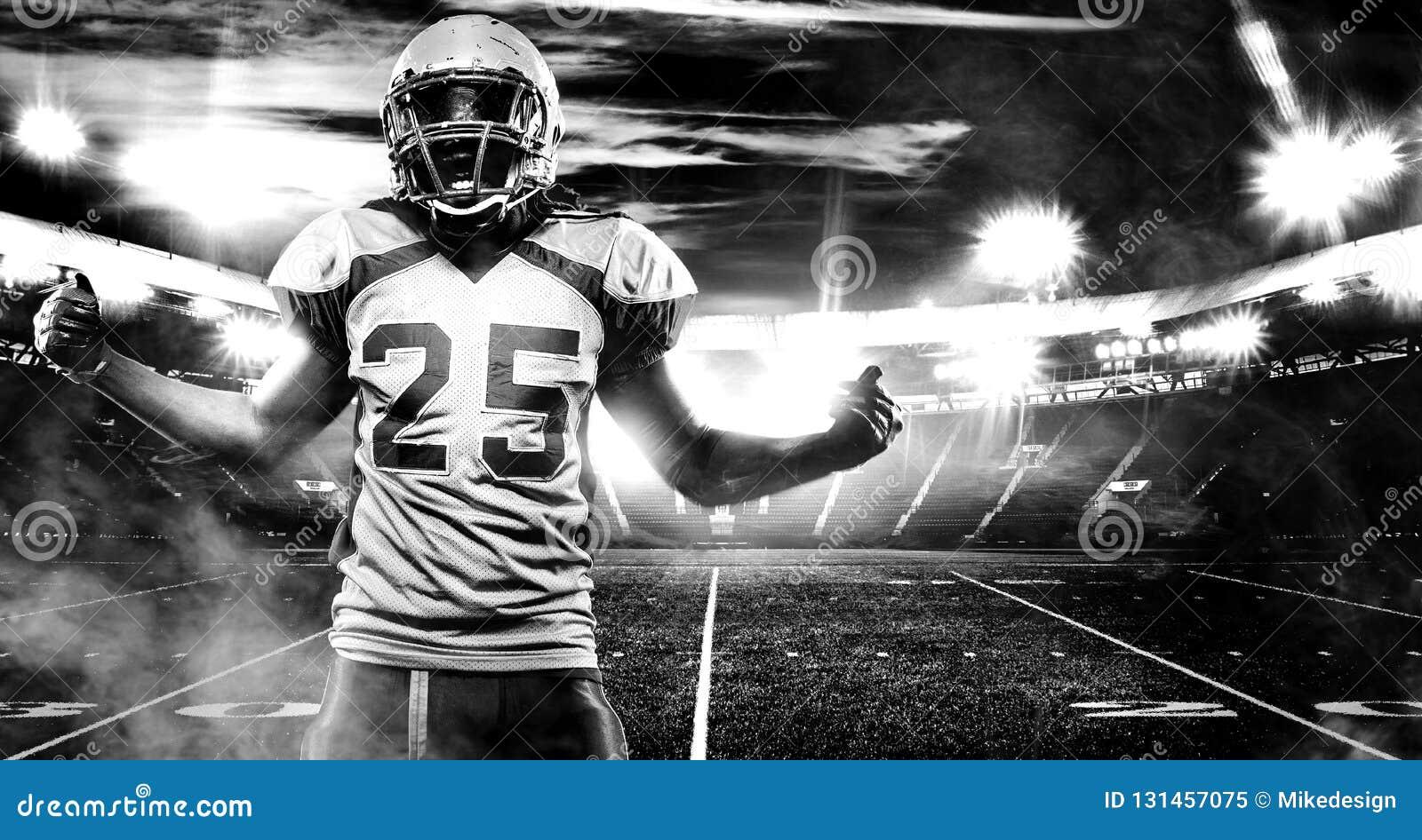 Американский футболист, спортсмен в шлеме на стадионе Пекин, фото Китая светотеневое Обои спорта с copyspace