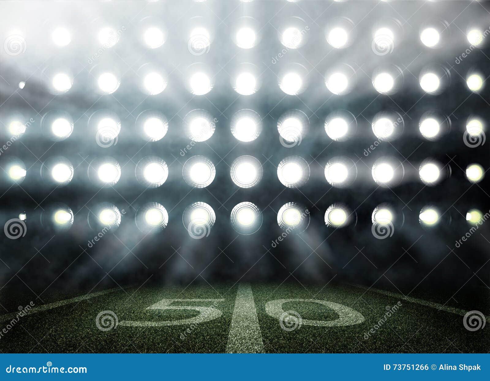 Американский футбольный стадион в светах и вспышках в 3d