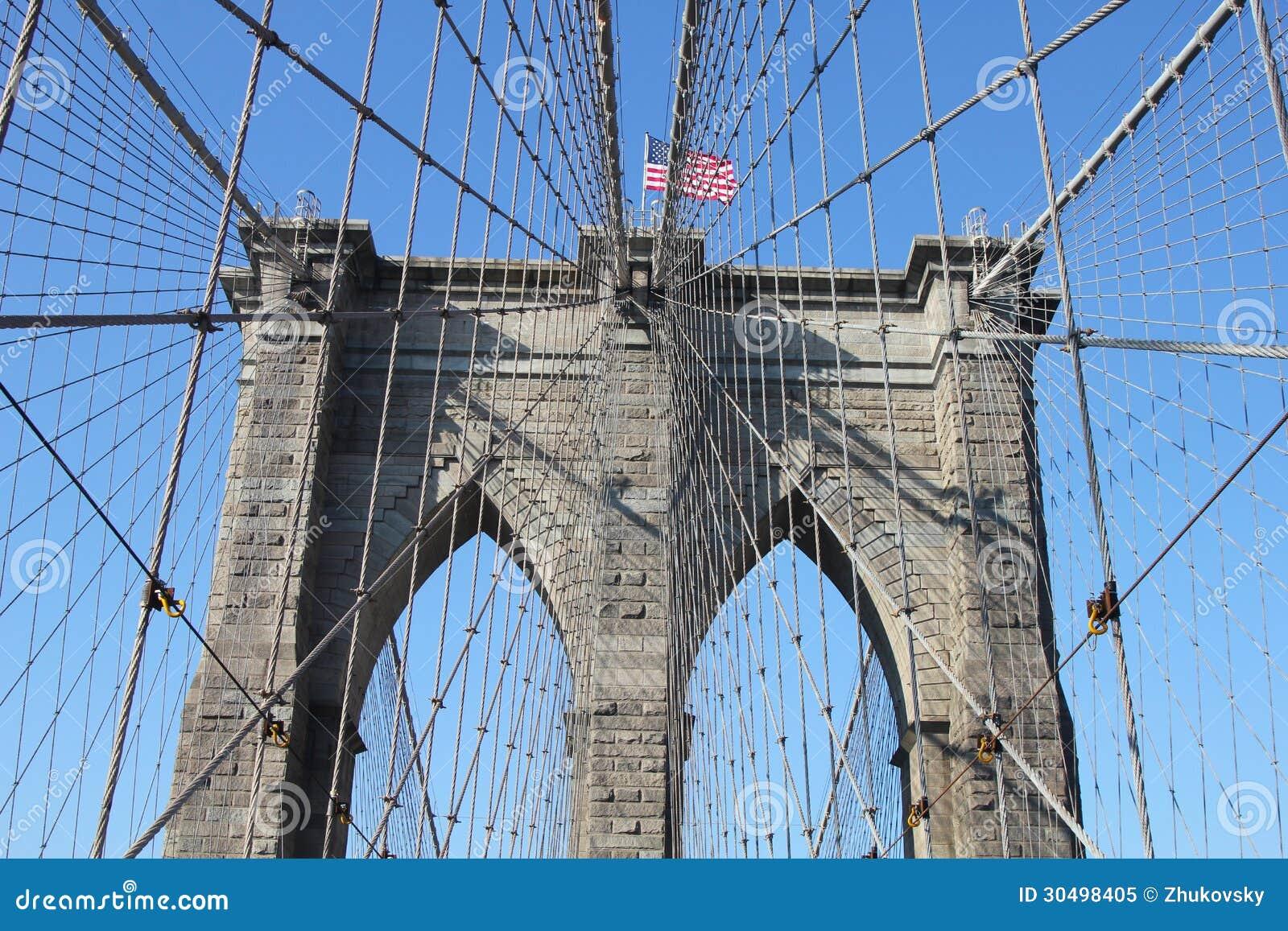 Американский флаг na górze известного Бруклинского моста