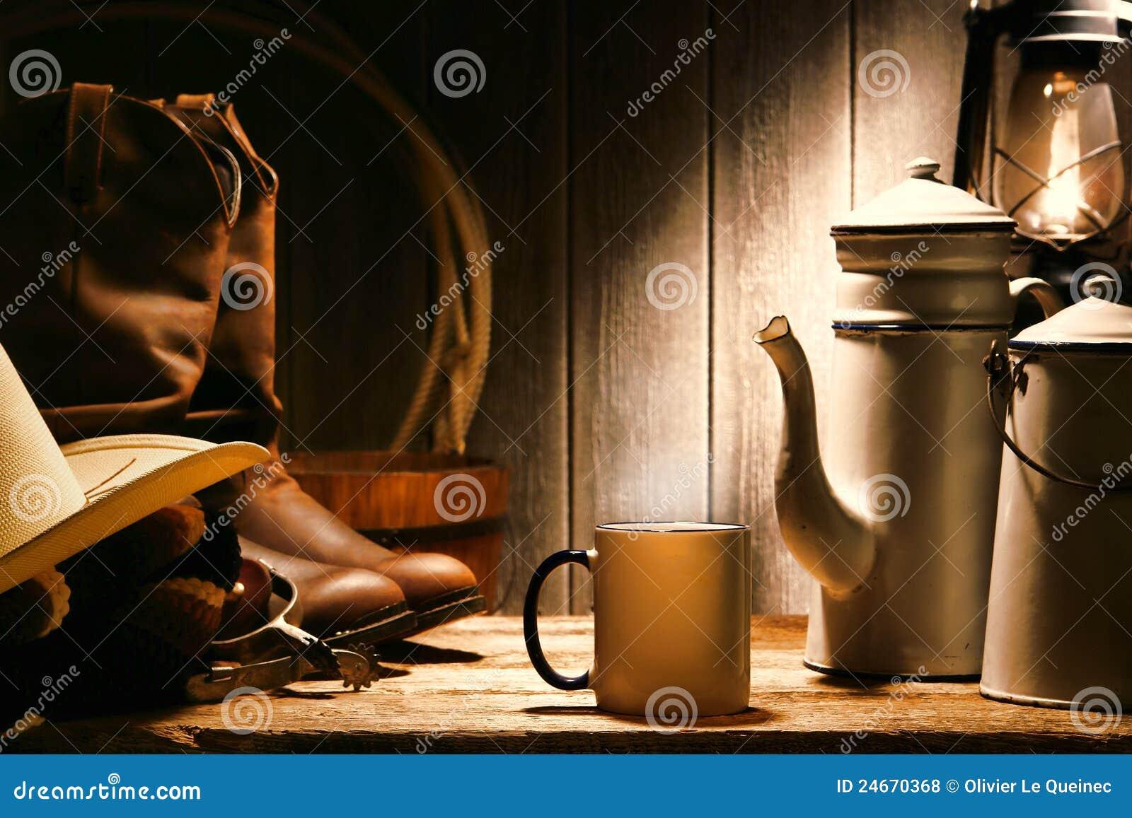 американское родео ранчо ковбоя кофе пролома западное