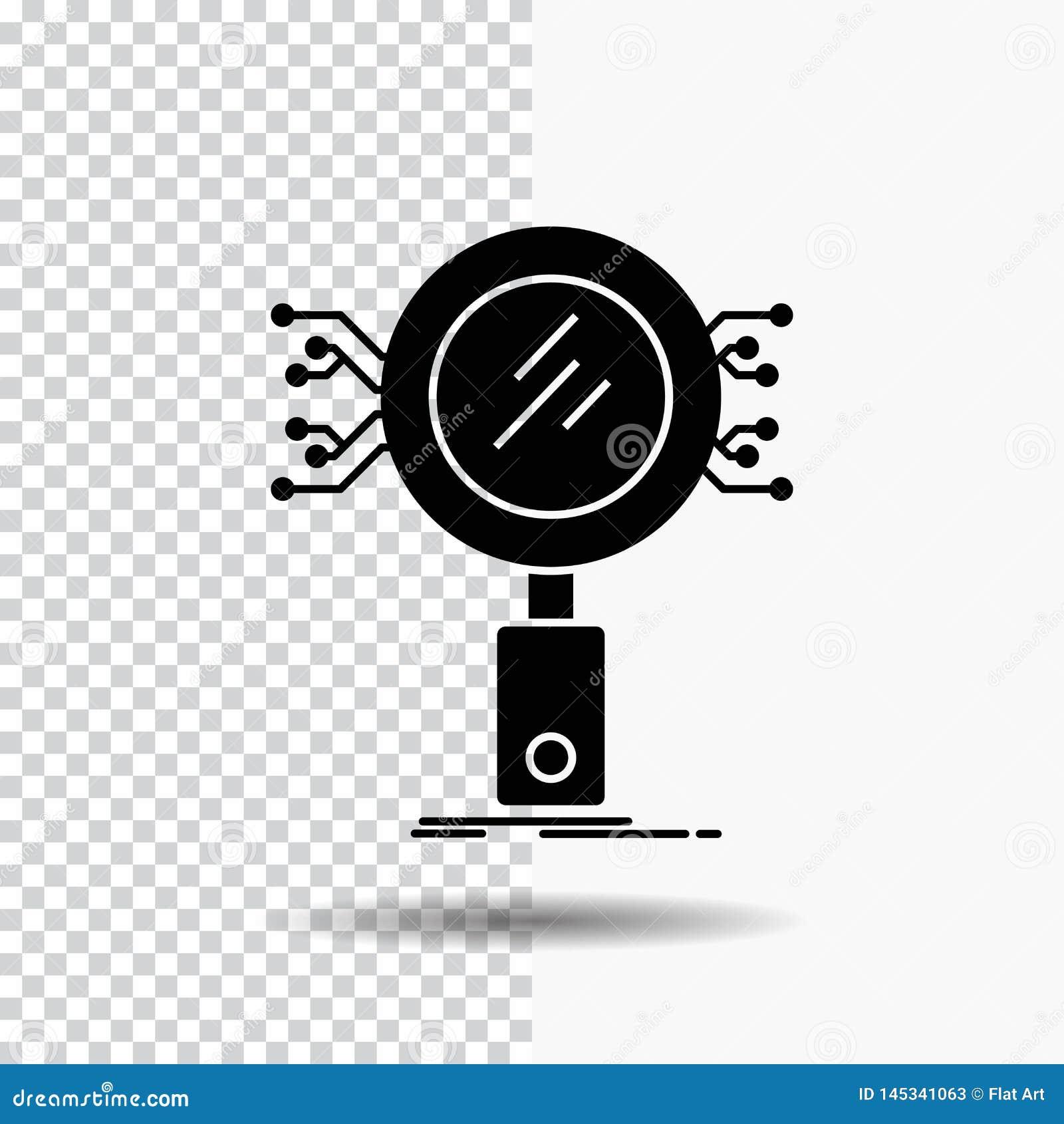 Анализ, поиск, информация, исследование, значок глифа безопасностью на прозрачной предпосылке r