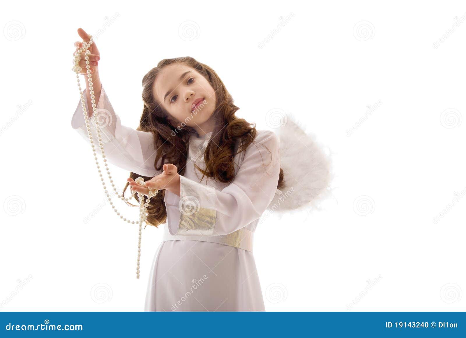 ангел меньшяя перла ожерелья довольно