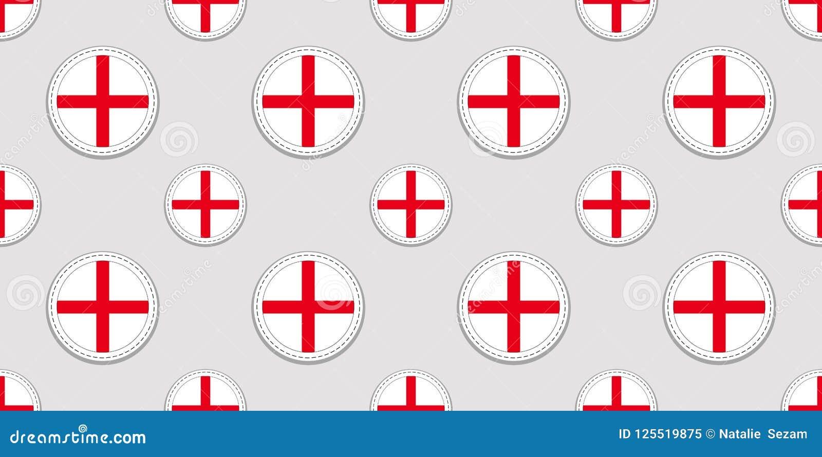 Английская предпосылка Картина флага Англии безшовная Значки вектора круглые Геометрические символы круга Текстура для языковых к
