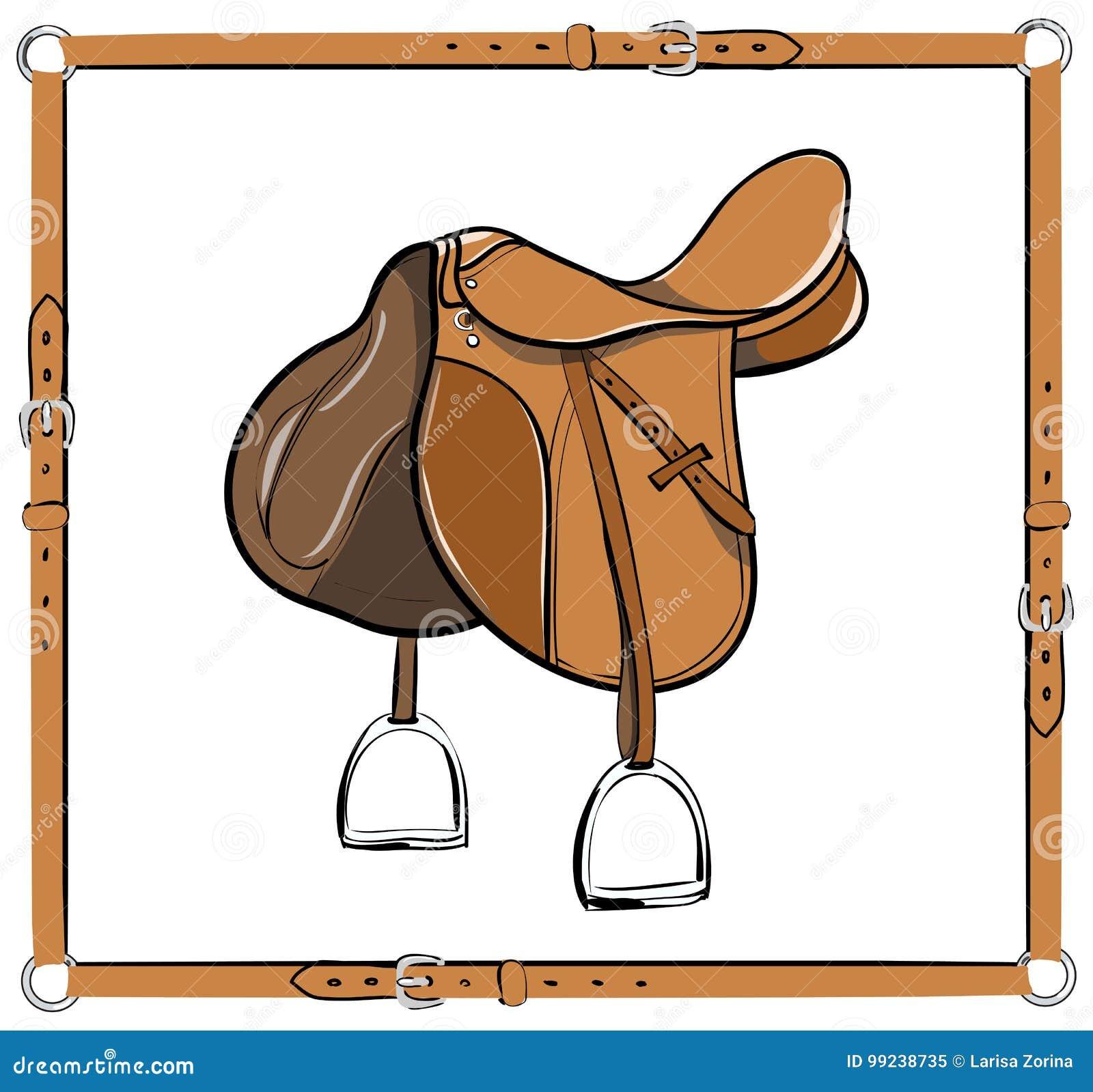 Английская седловина в кожаном узловом шпангоуте на белизне