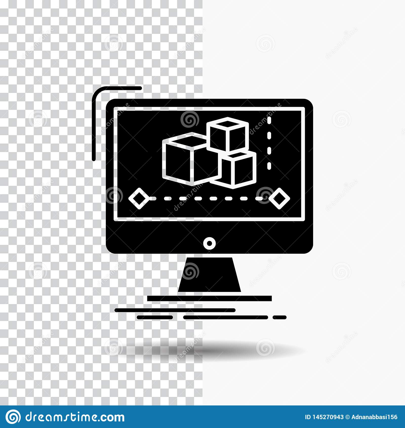 Анимация, компьютер, редактор, монитор, значок глифа программного обеспечения на прозрачной предпосылке r