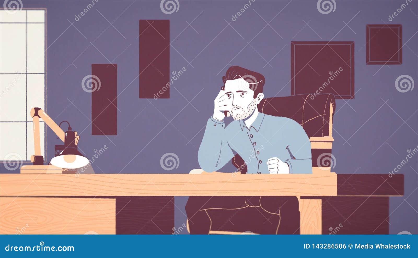 Анимация уставшего и усиленного бизнесмена работая на рабочем месте в офисе Мультипликационный фильм вымотанной молодой