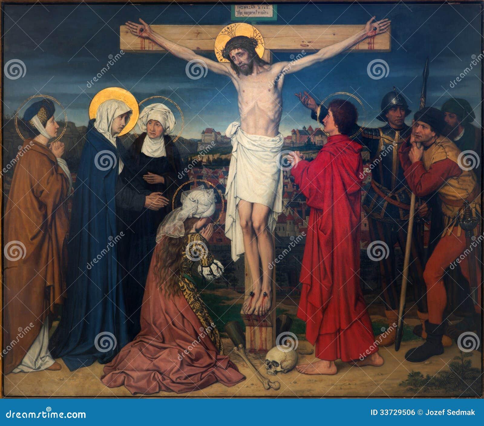 Антверпен - распятие как часть 7 скорб цикла девственницы Josef Janssens от лет 1903 до 1910 в соборе нашего Ла
