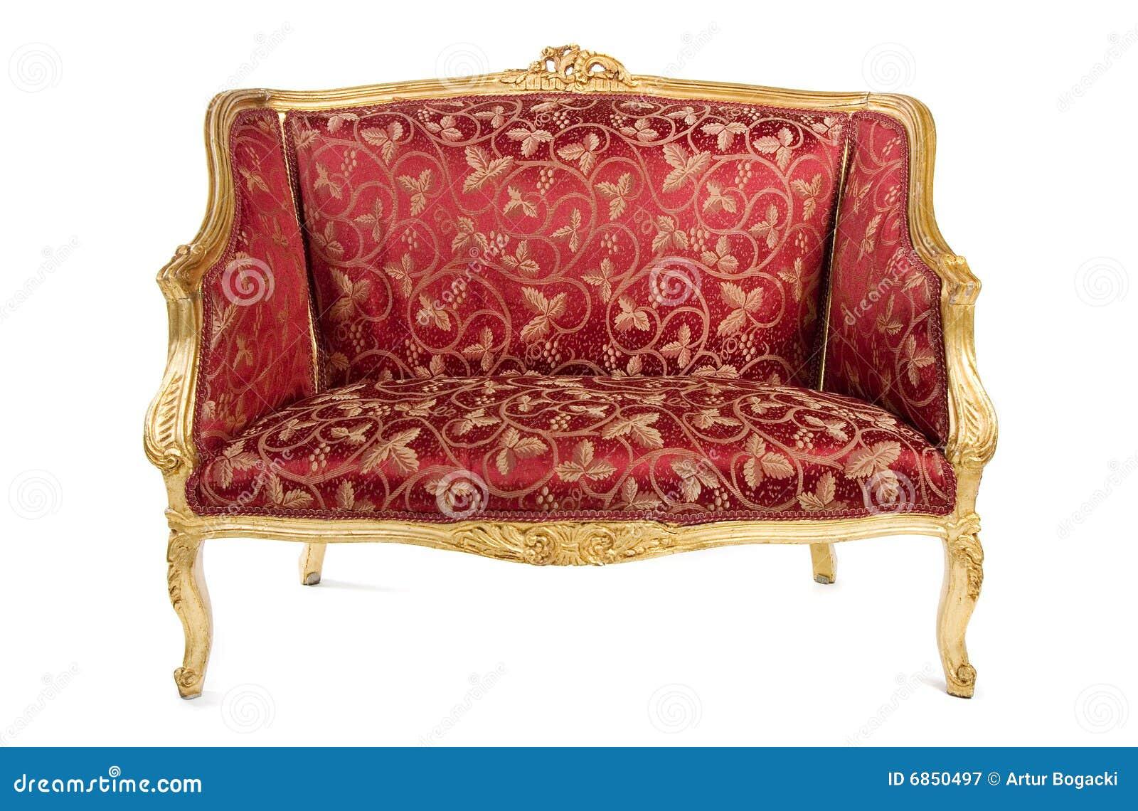 античная красная софа