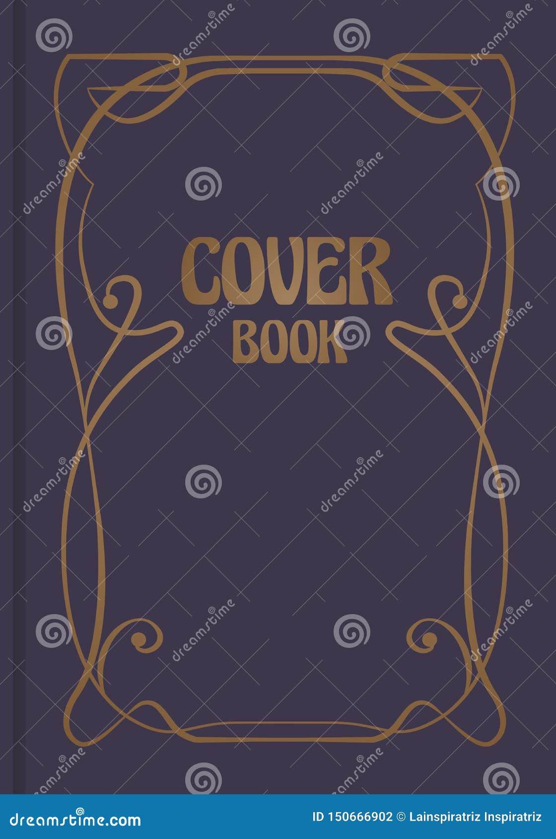 Античная обложка книги с декоративной орнаментальной модернистской границей