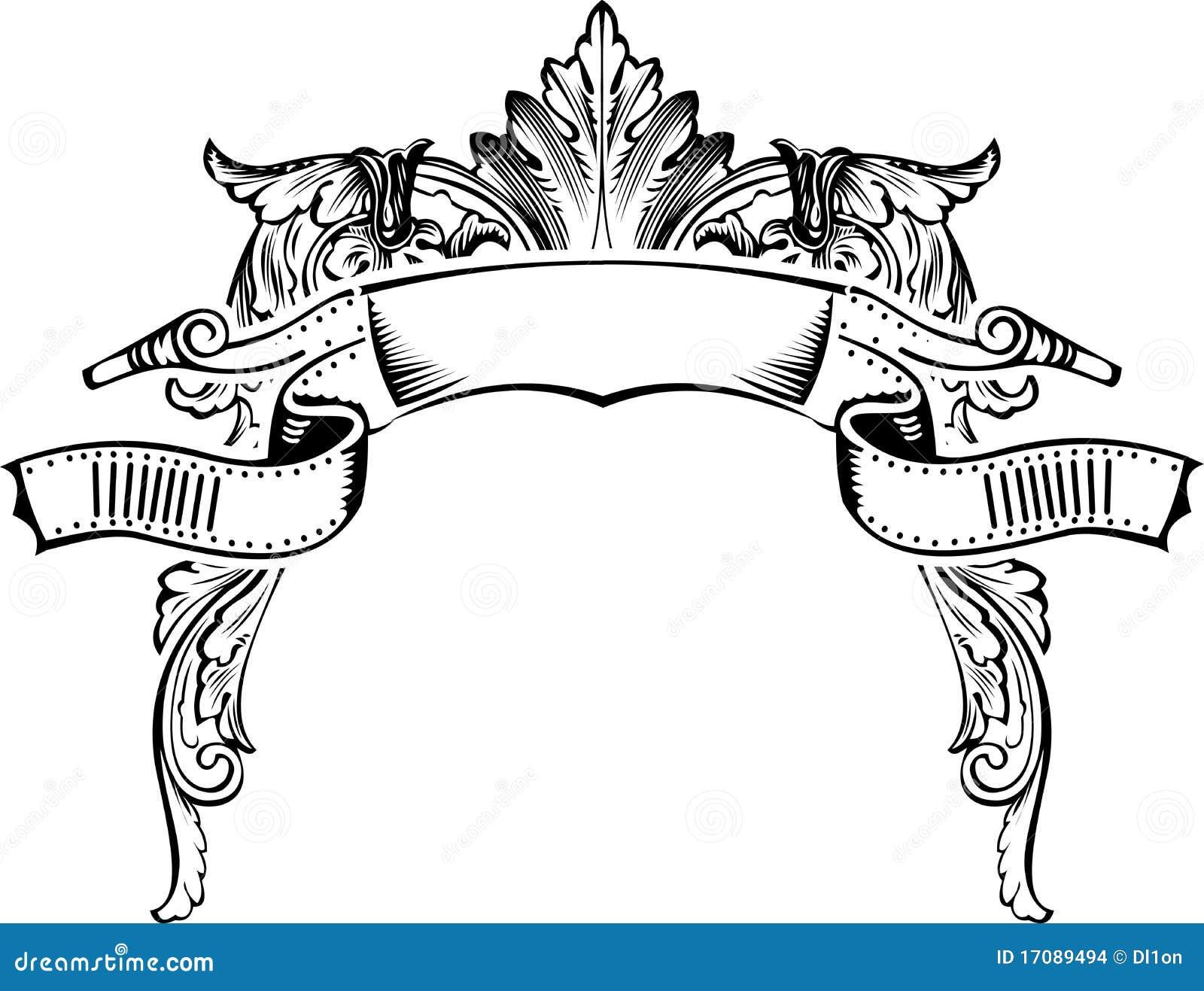 античная рамка знамени половинная