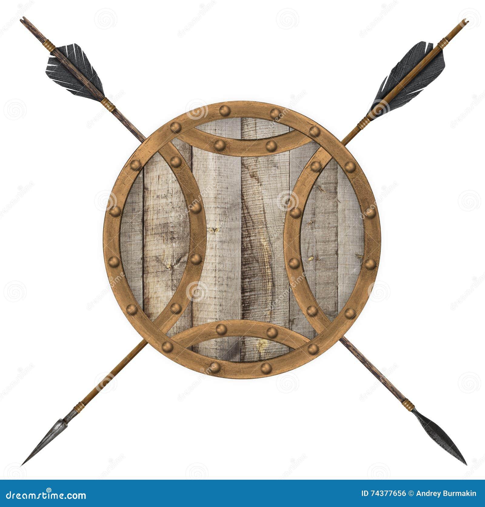 Античная старые деревянные изолированные стрелка и экран