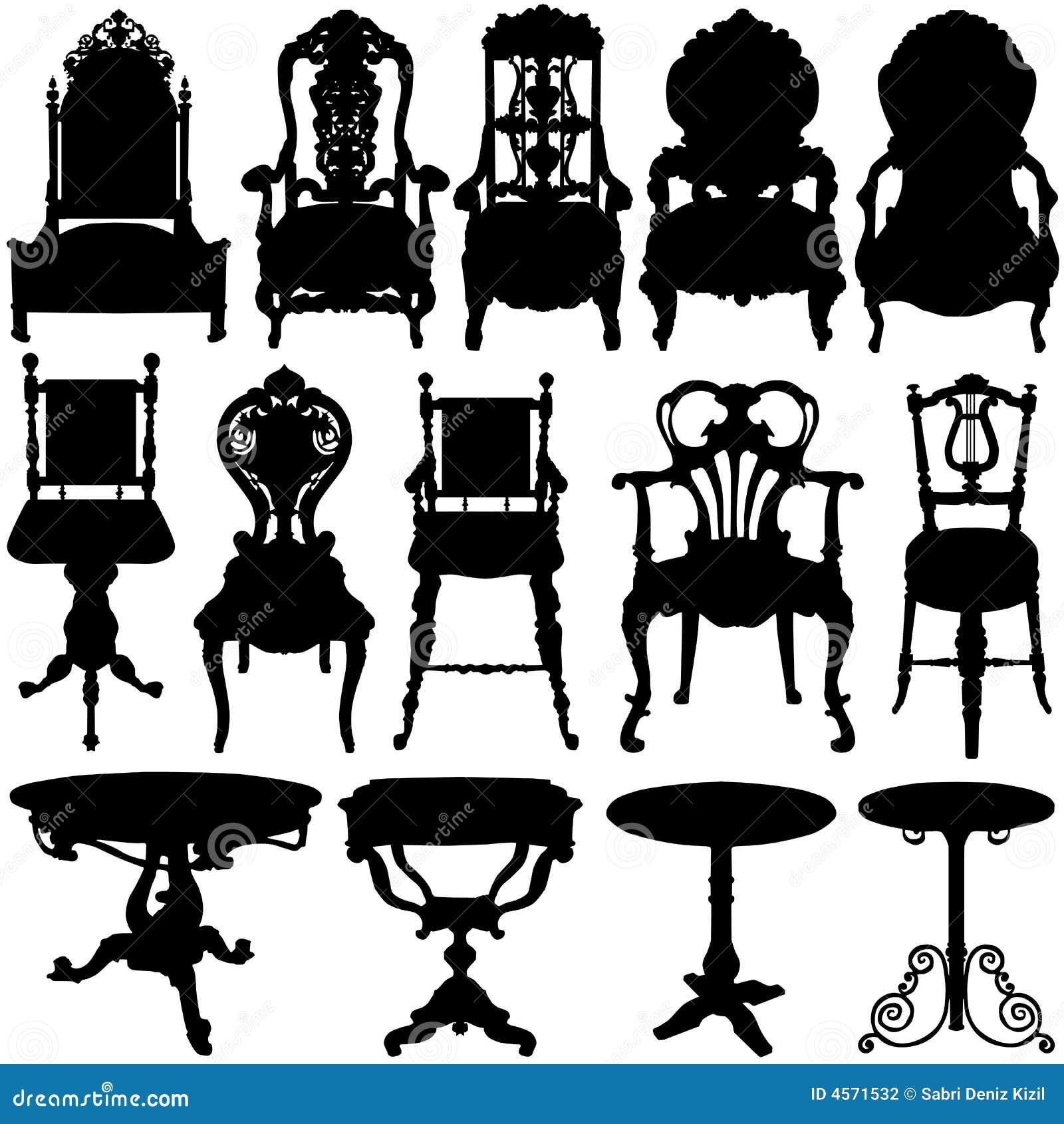 античный вектор таблицы стула