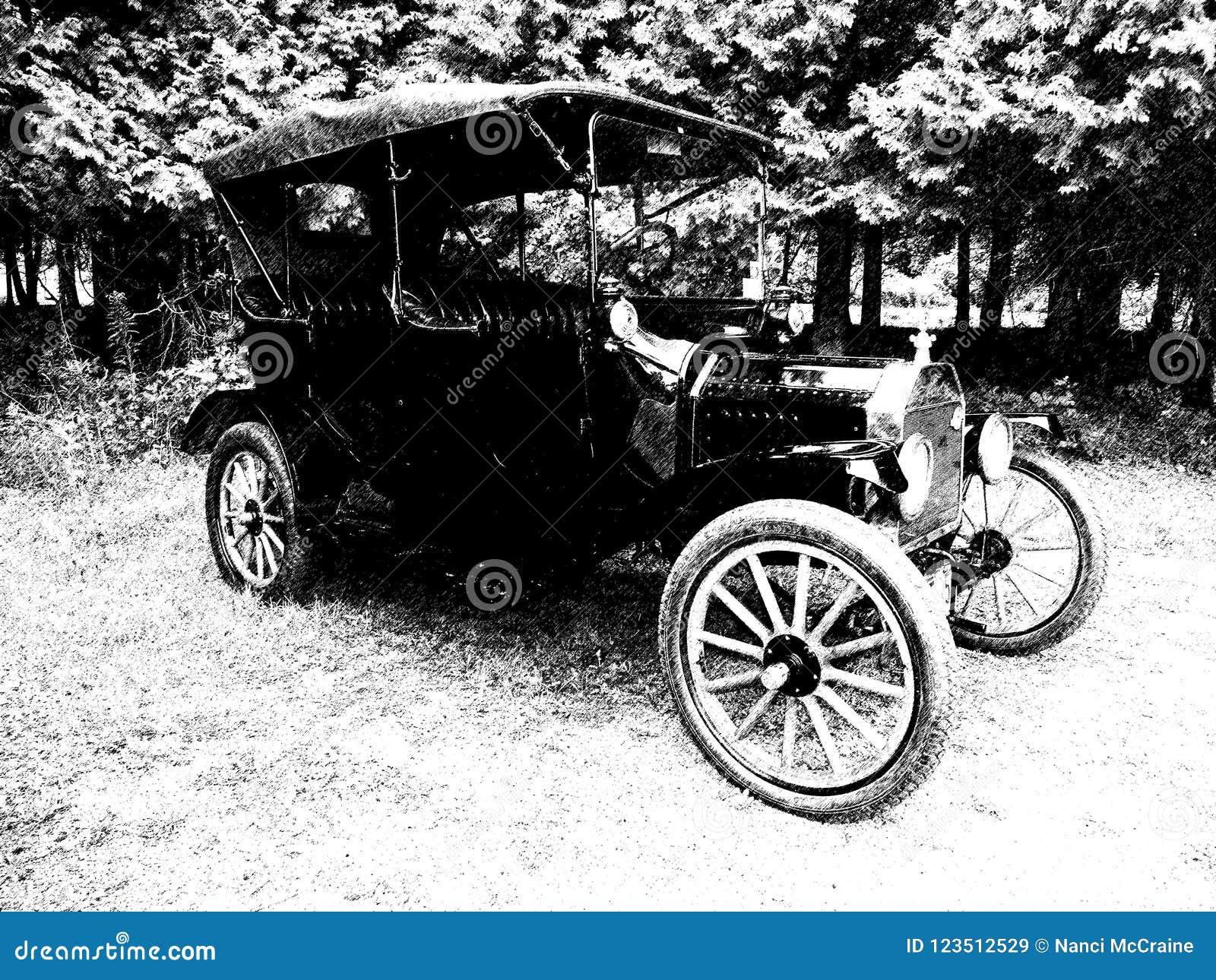 Античный винтажный автомобиль припарковал в поле в черной & белом