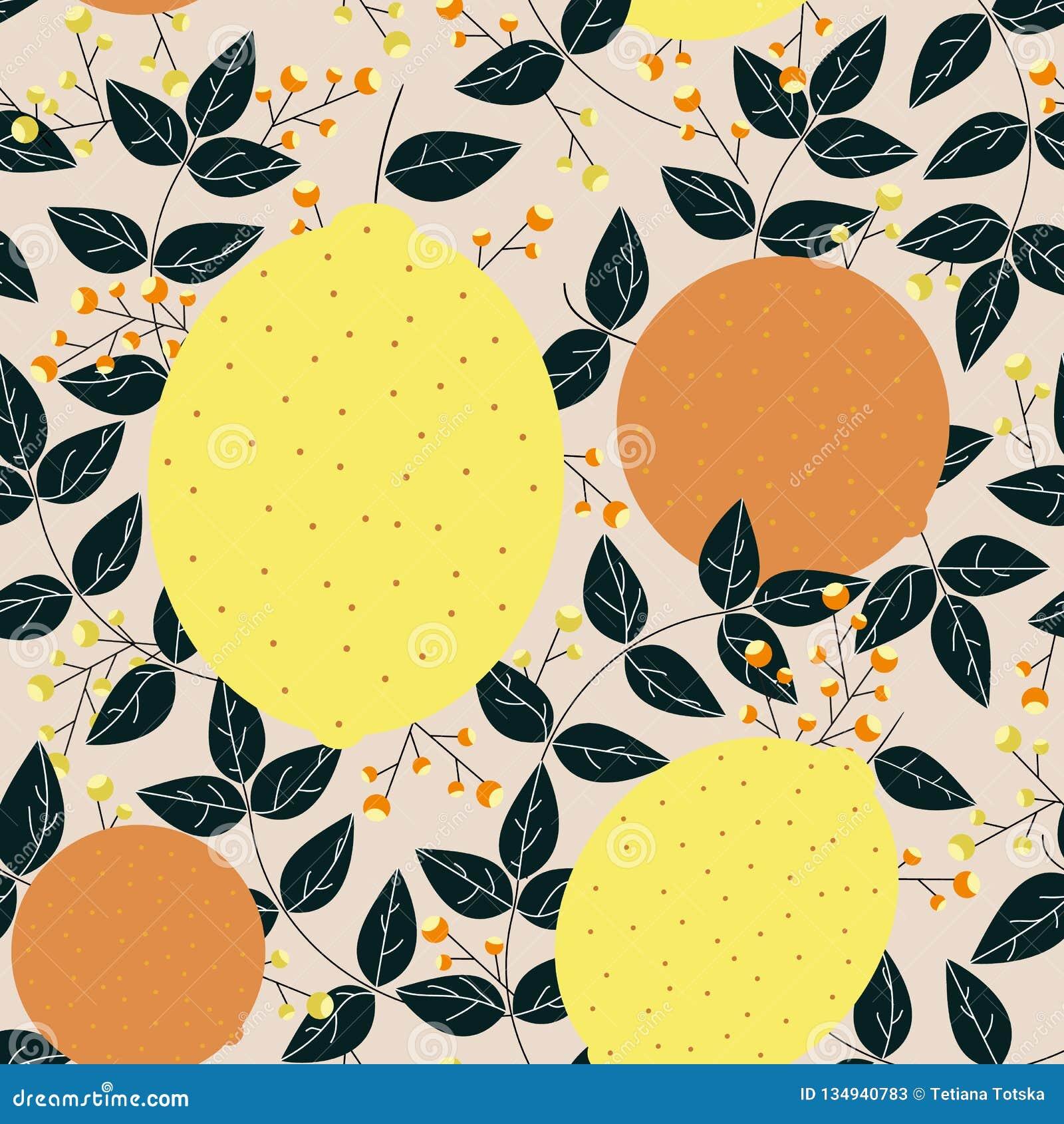 Апельсины лимонов с картиной листьев и ягод безшовной