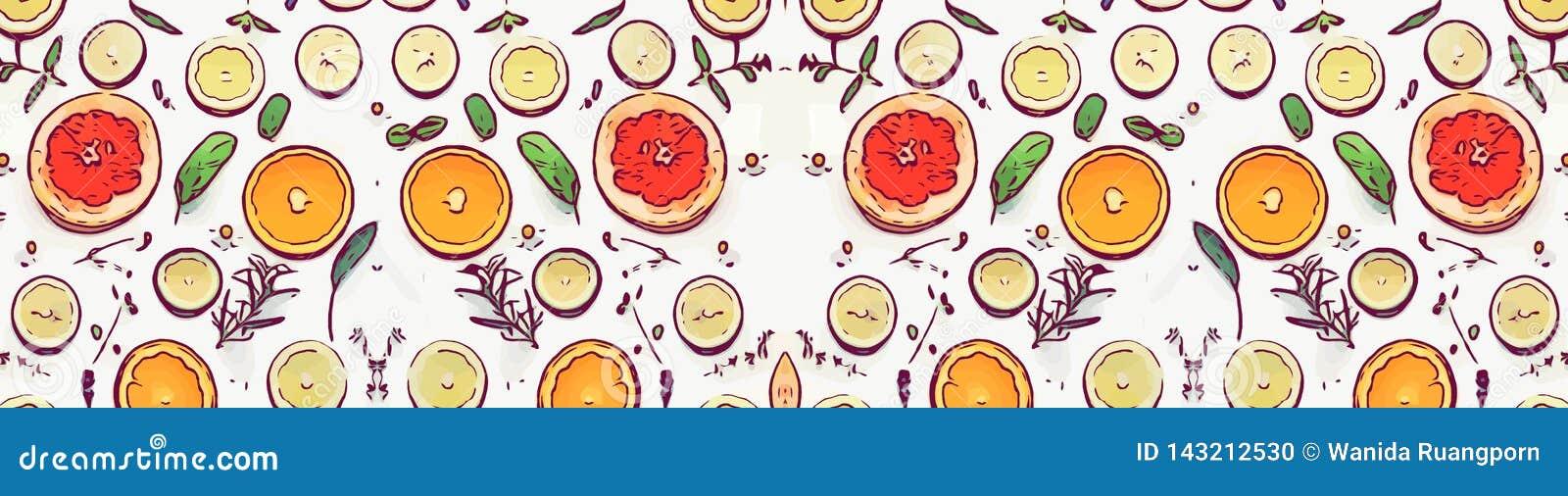 Апельсин и лимон еды плода на белой предпосылке