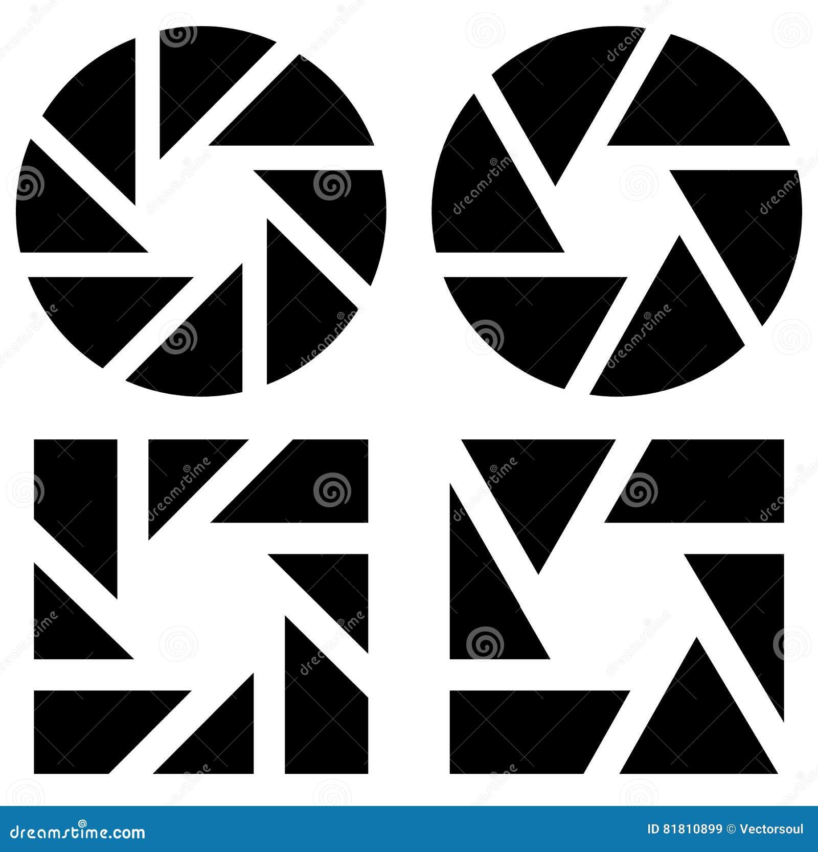 Апертура любит символ Круговой значок с ламеллами