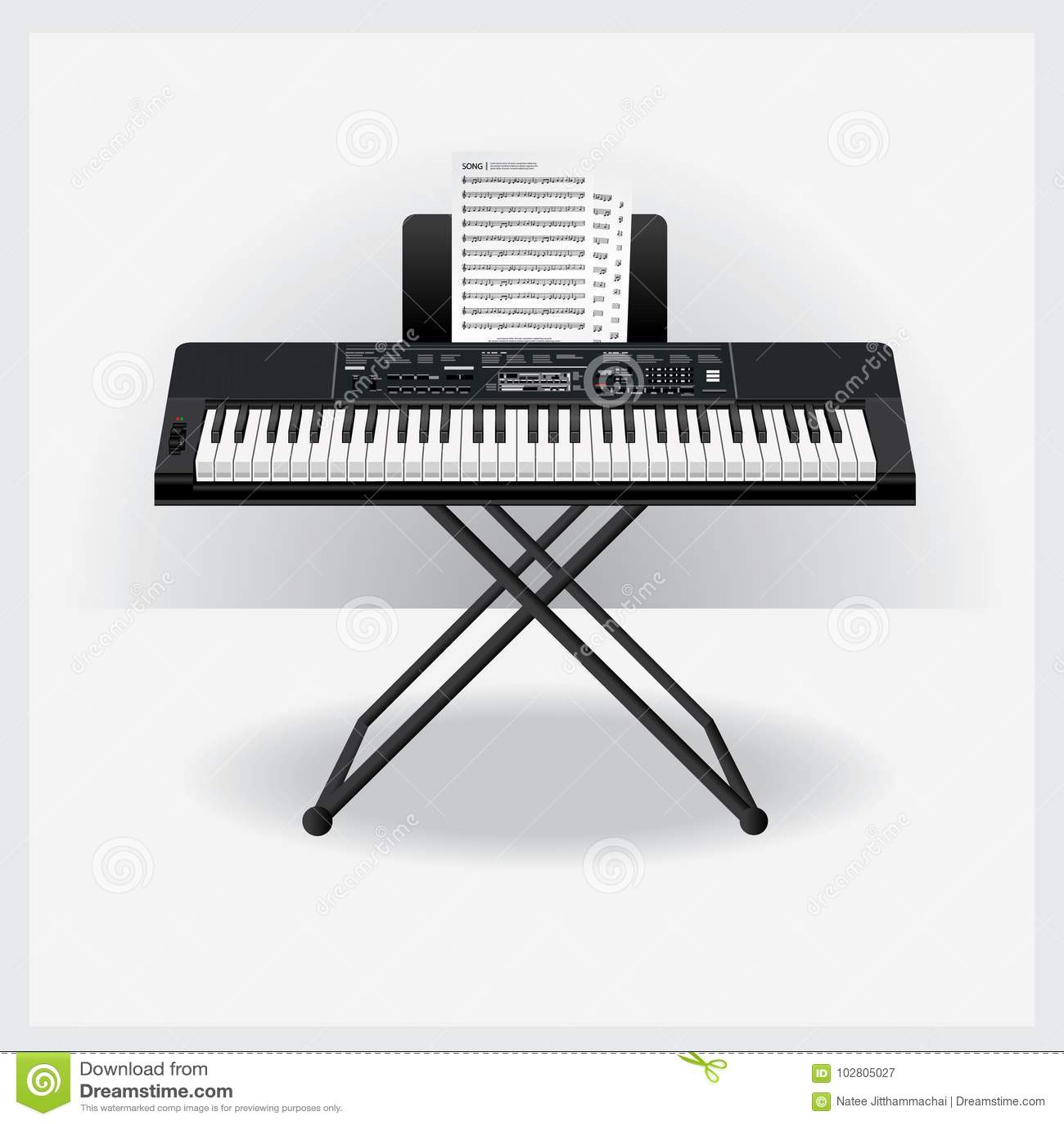 Аппаратура клавиатуры с примечанием песни