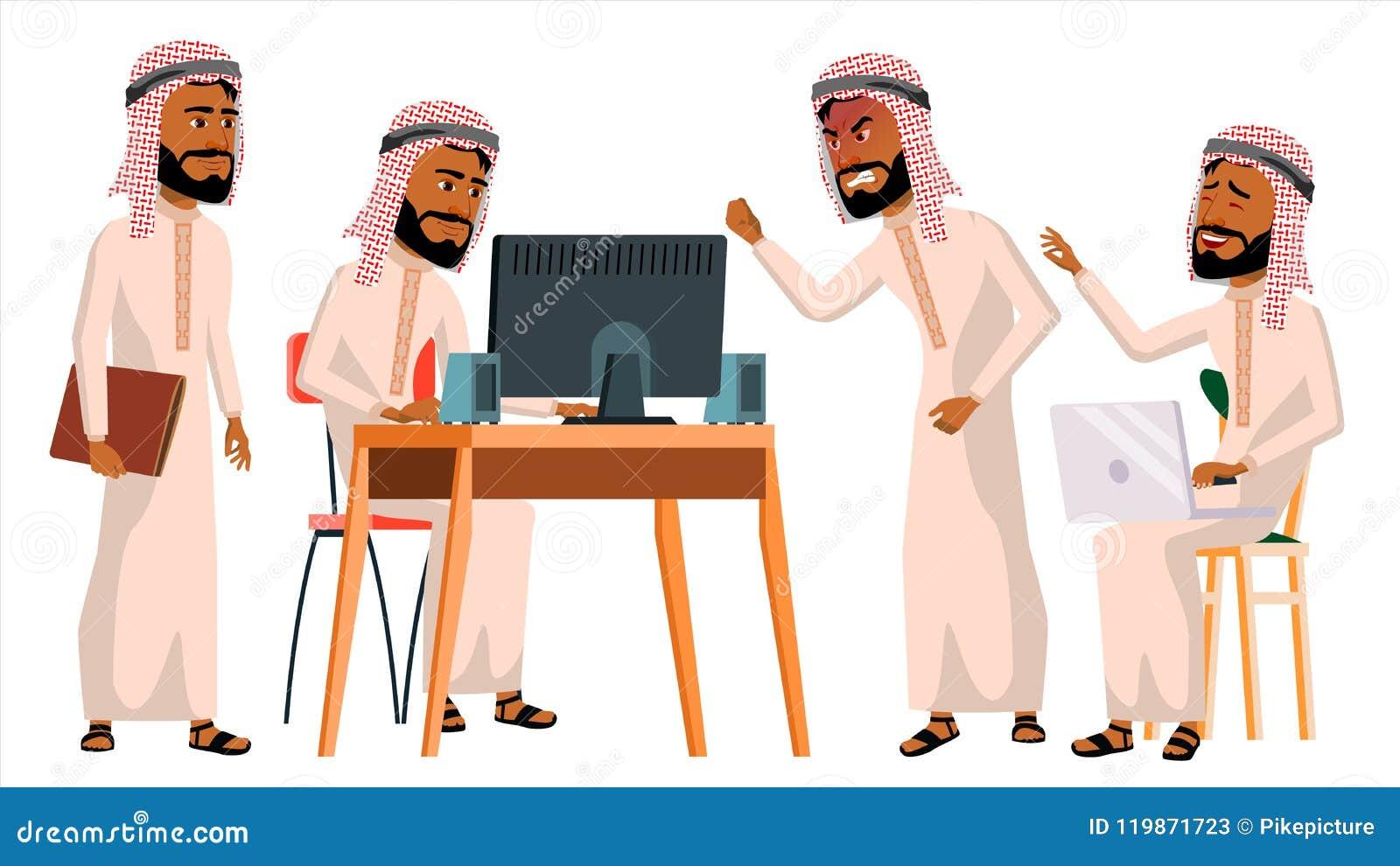 Арабский вектор работника офиса человека Житель Саудовской Аравии, эмираты, Катар, ОАЭ вектор художнической иллюстрации дела уста