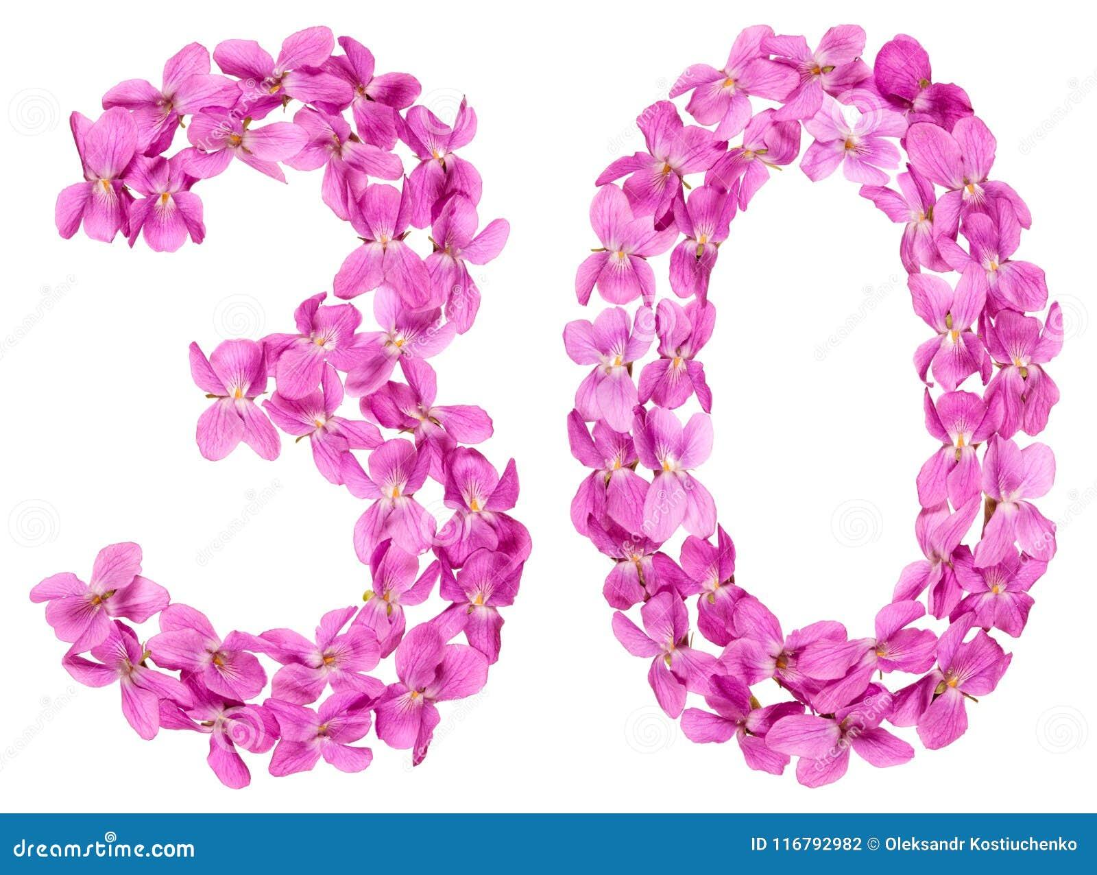 Арабский цифр 30, 30, от цветков альта, изолированных на wh