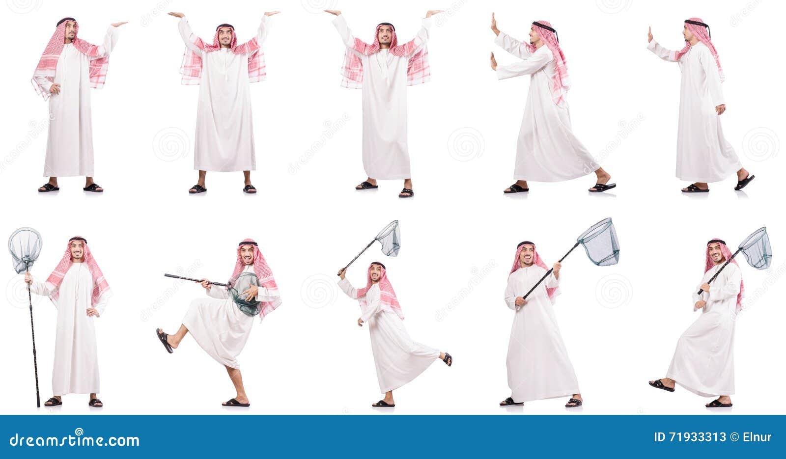 Арабский человек при заразительная сеть изолированная на белизне