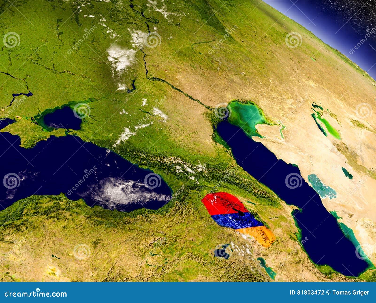 Армения с врезанным флагом на земле