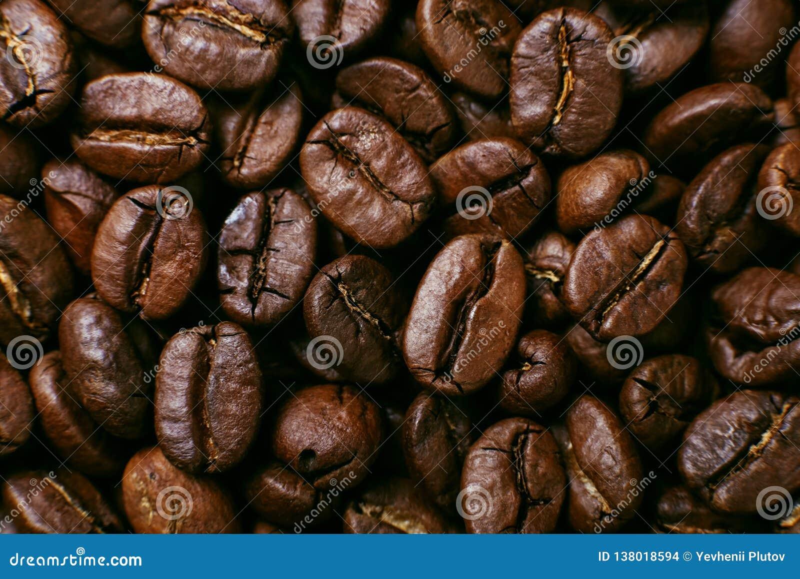 Ароматность зажарила в духовке кофейные зерна, коричневую предпосылку поднимающее вверх близкого фокуса мягкое
