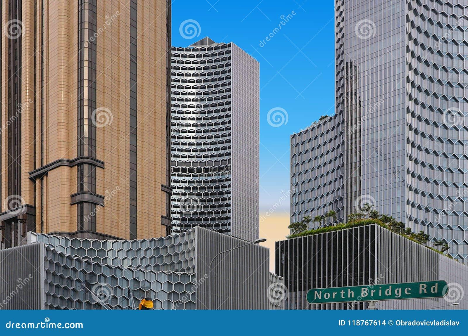 Архитектура и scyscrapers Сингапура современные абстрактные с голубым небом лета