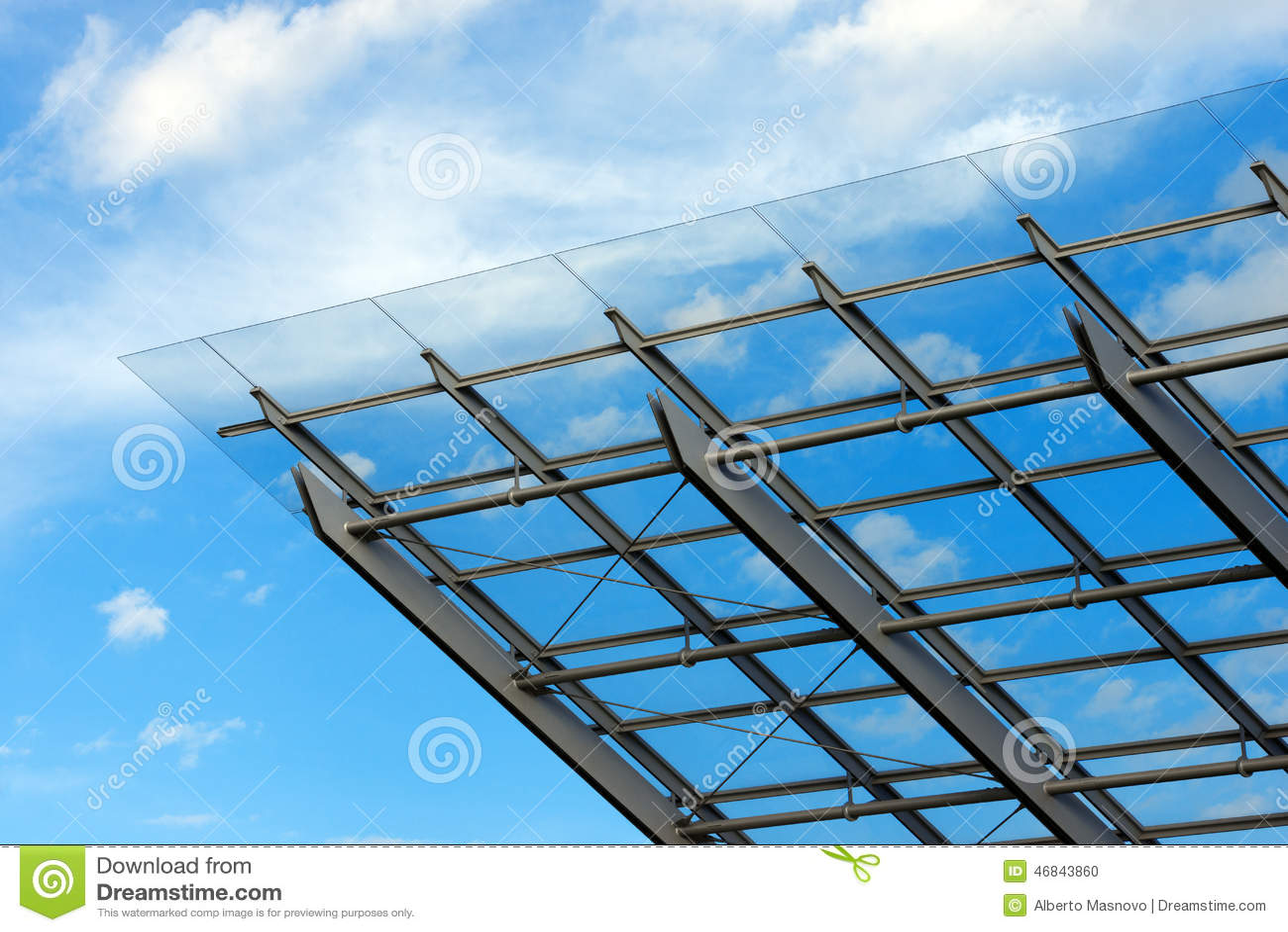 Архитектурноакустические детали стеклянного и стального здания