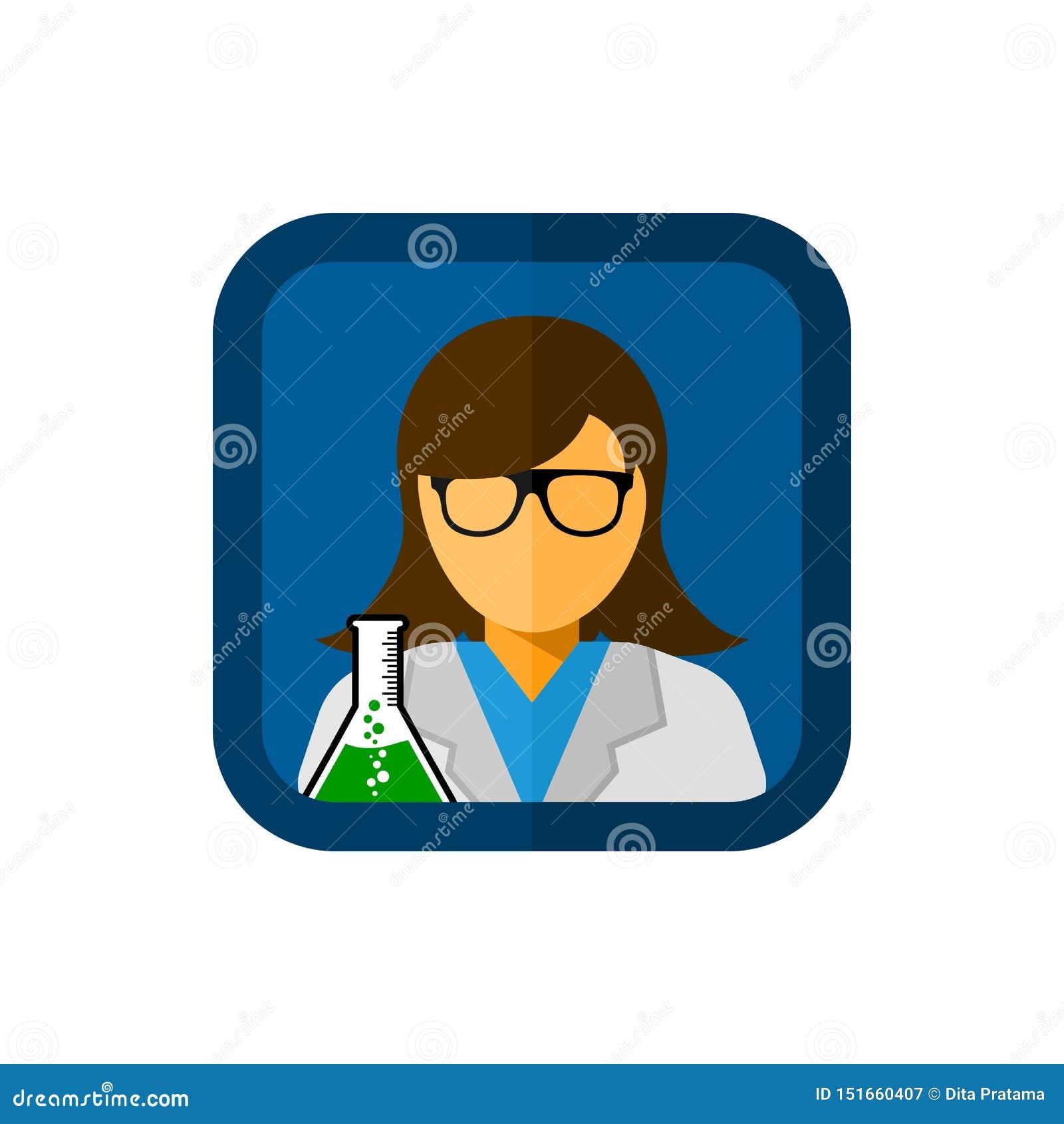 Ассистент лаборатории с квадратной иллюстрацией значка вектора
