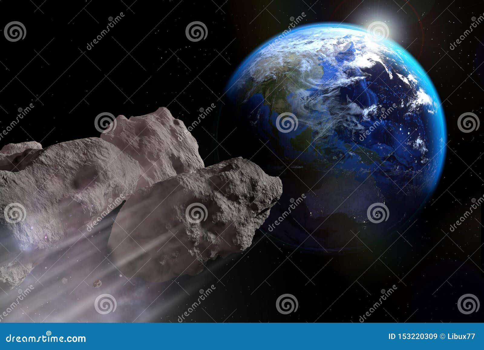 Астероид около плотно сжать на земной поверхности