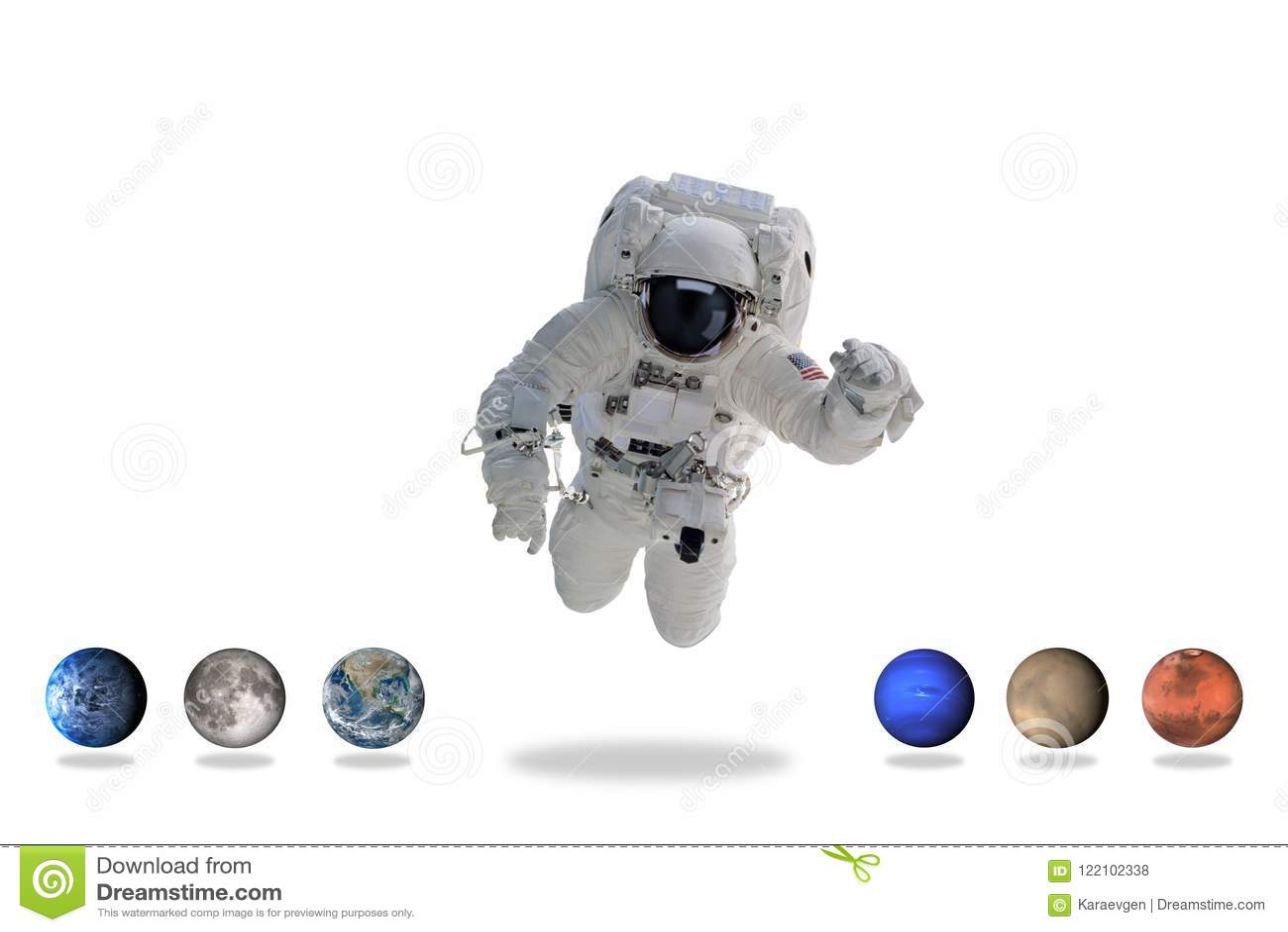 Астронавт в космическом пространстве с планетами искусство минимальное