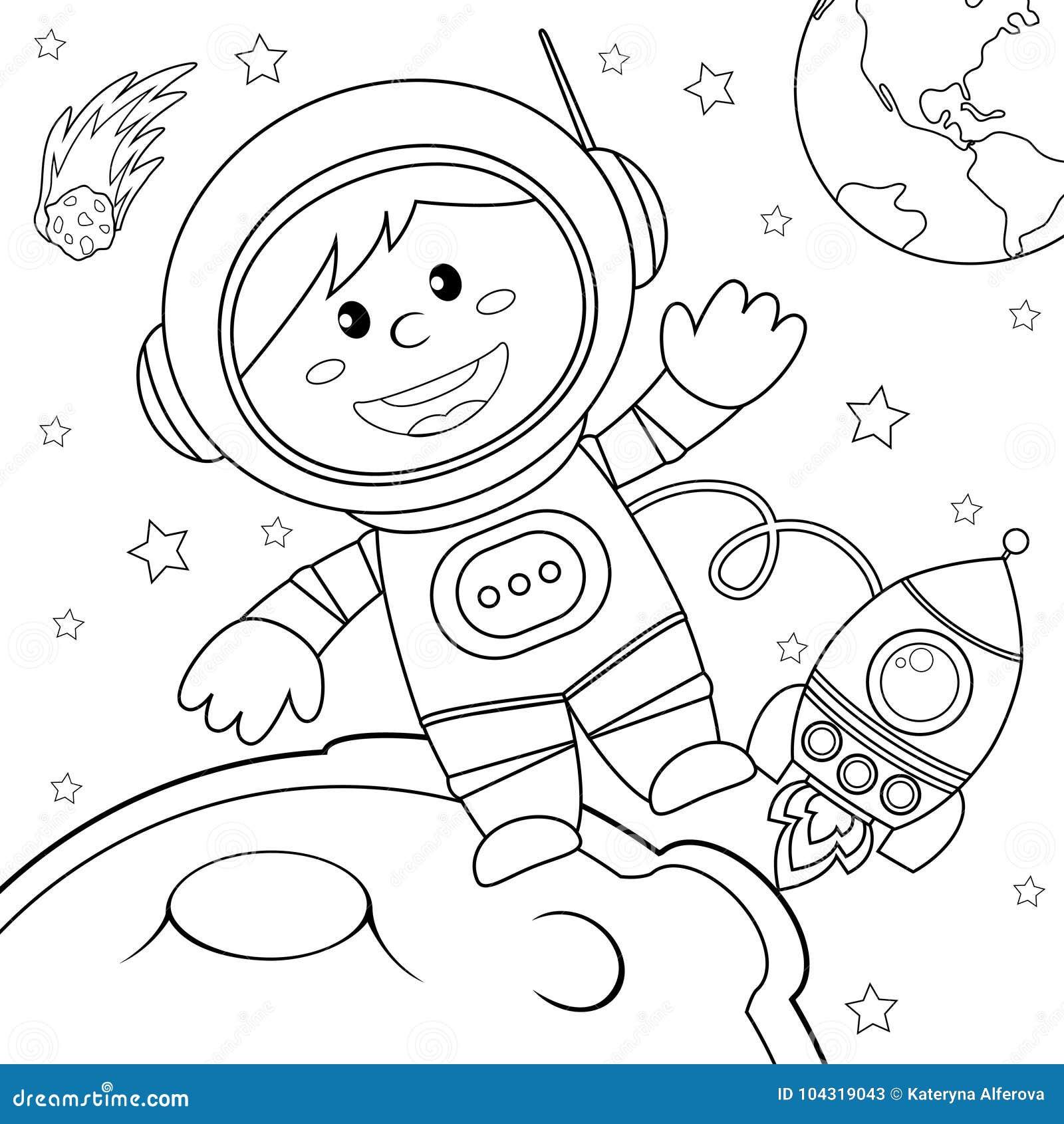 Астронавт в космосе Черно-белая иллюстрация вектора для ...