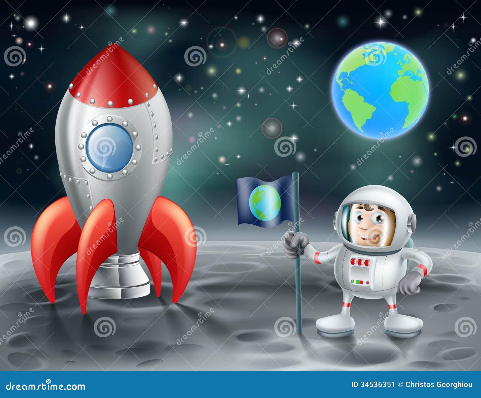 Рисунки с луной и космонавтом