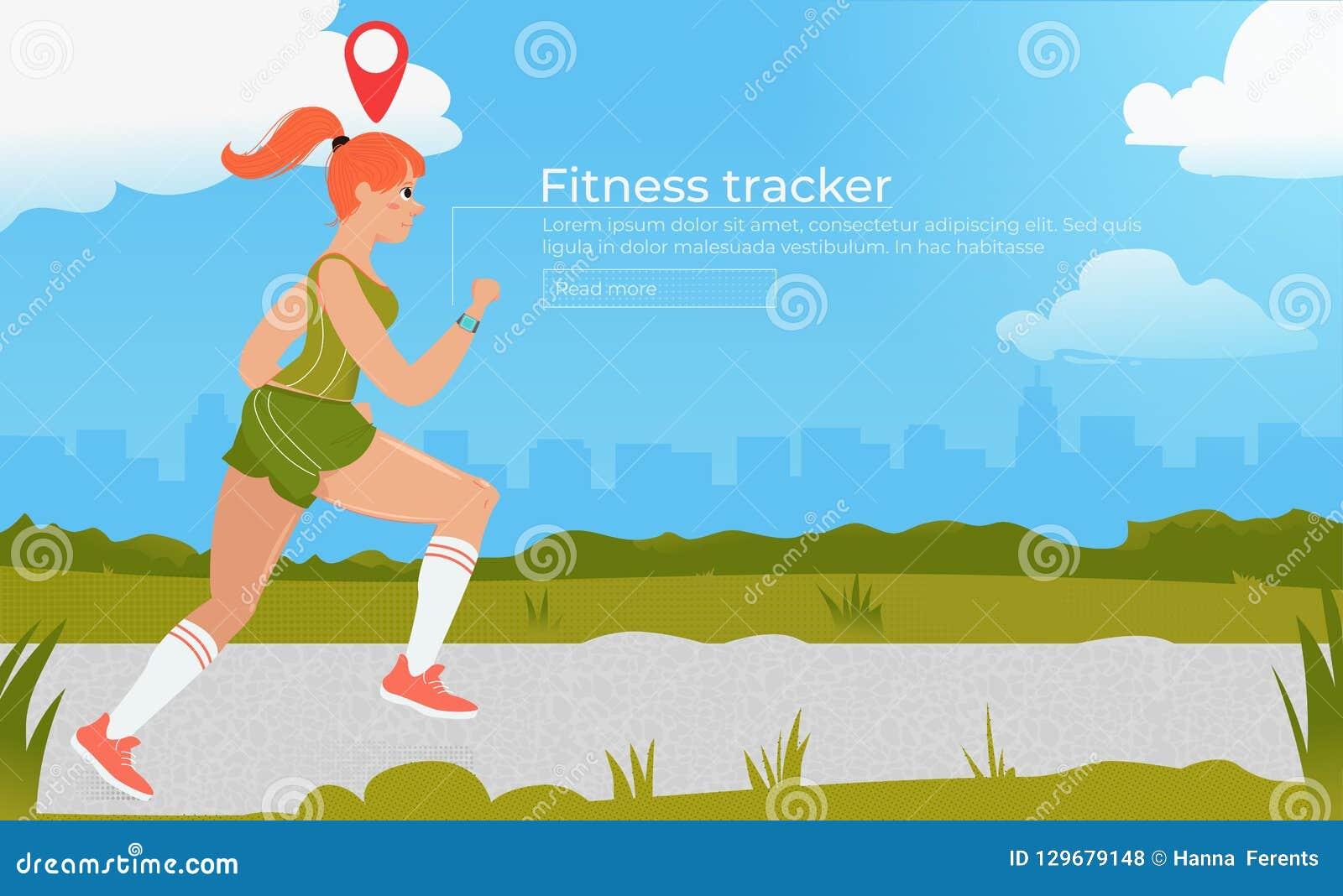 Атлетическая женщина на беге с отслежывателем фитнеса Cardio тренировки Разминка на outdoors в парке concept healthy lifestyle