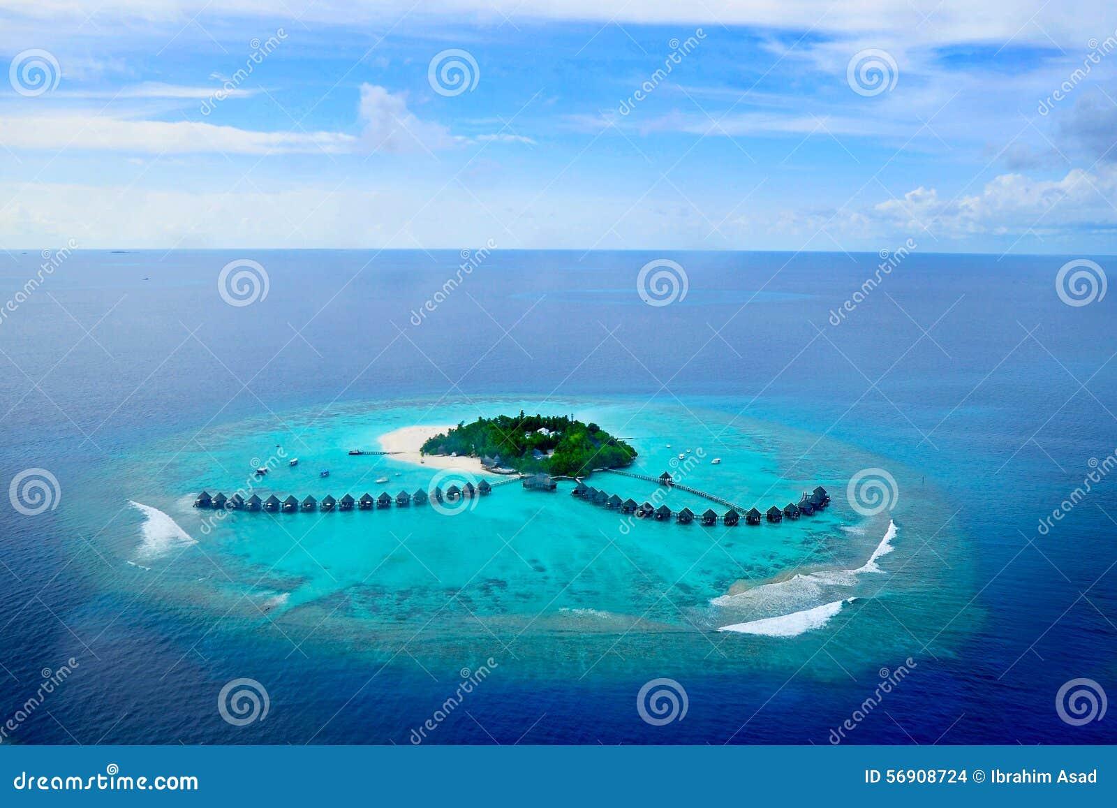 Атолл Addu или атолл Seenu, юг большинств атолл островов Мальдивов