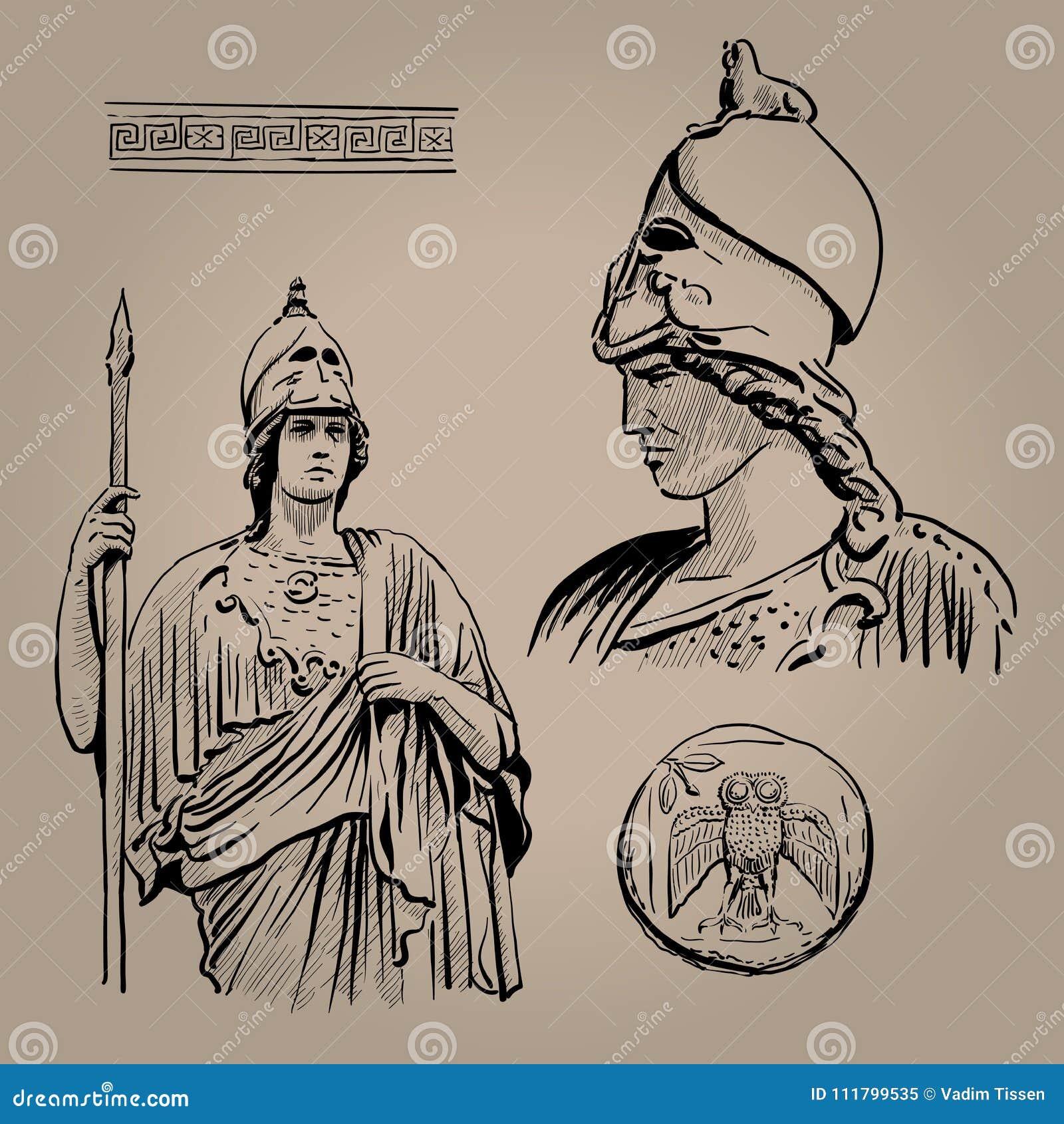 Афина Pallas Богиня древнегреческия премудрости, ремесленничества, и войны Чертеж руки эскиза цифров