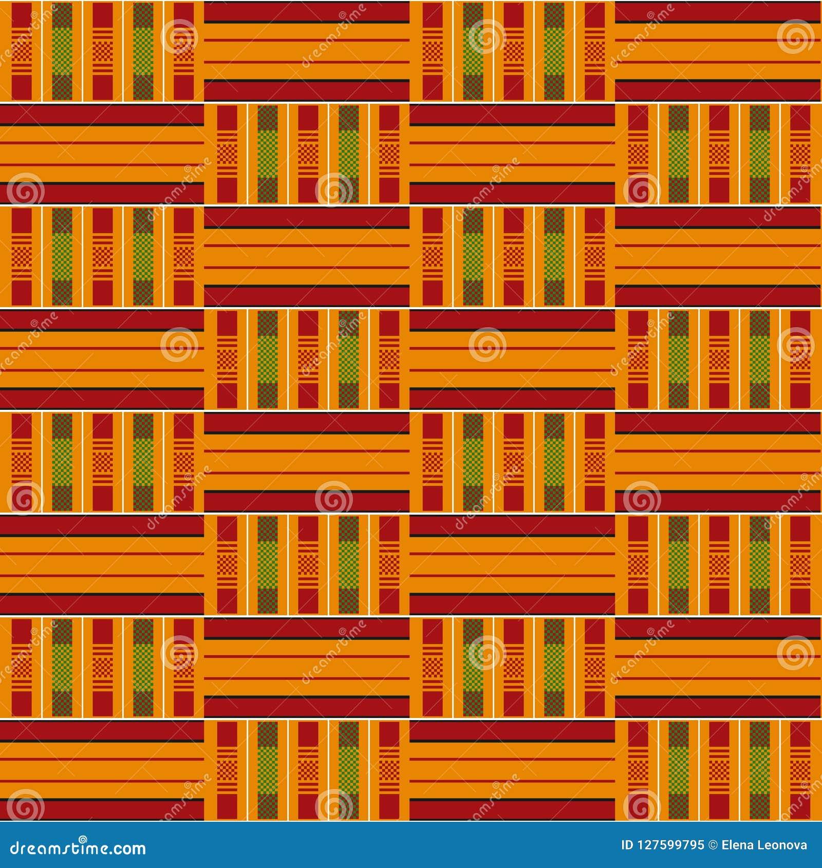 африканская картина безшовная Kente ткани Племенная печать