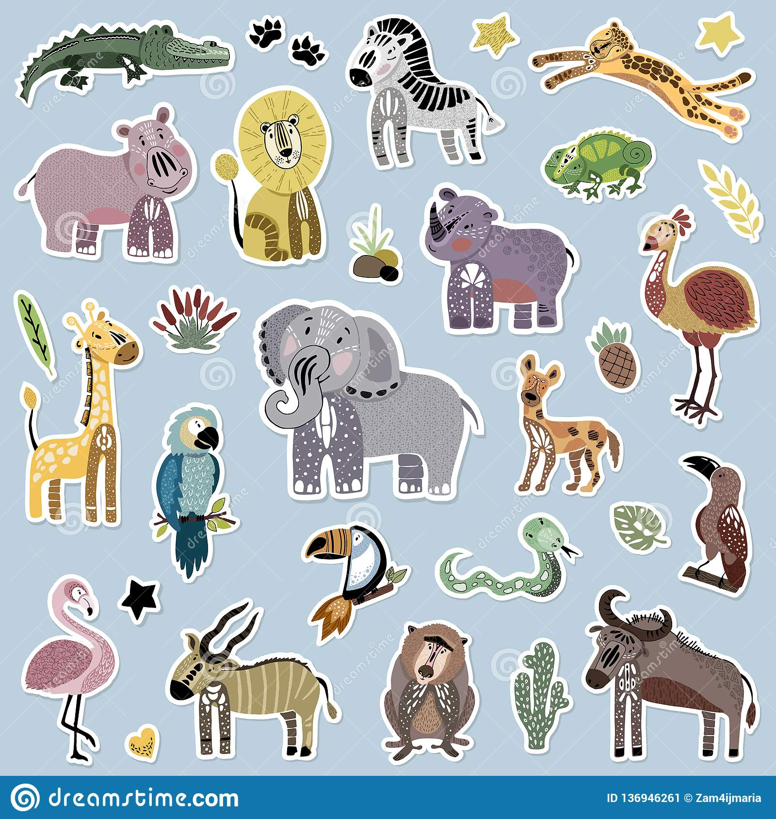 африканский вектор иллюстрации шаржа животных